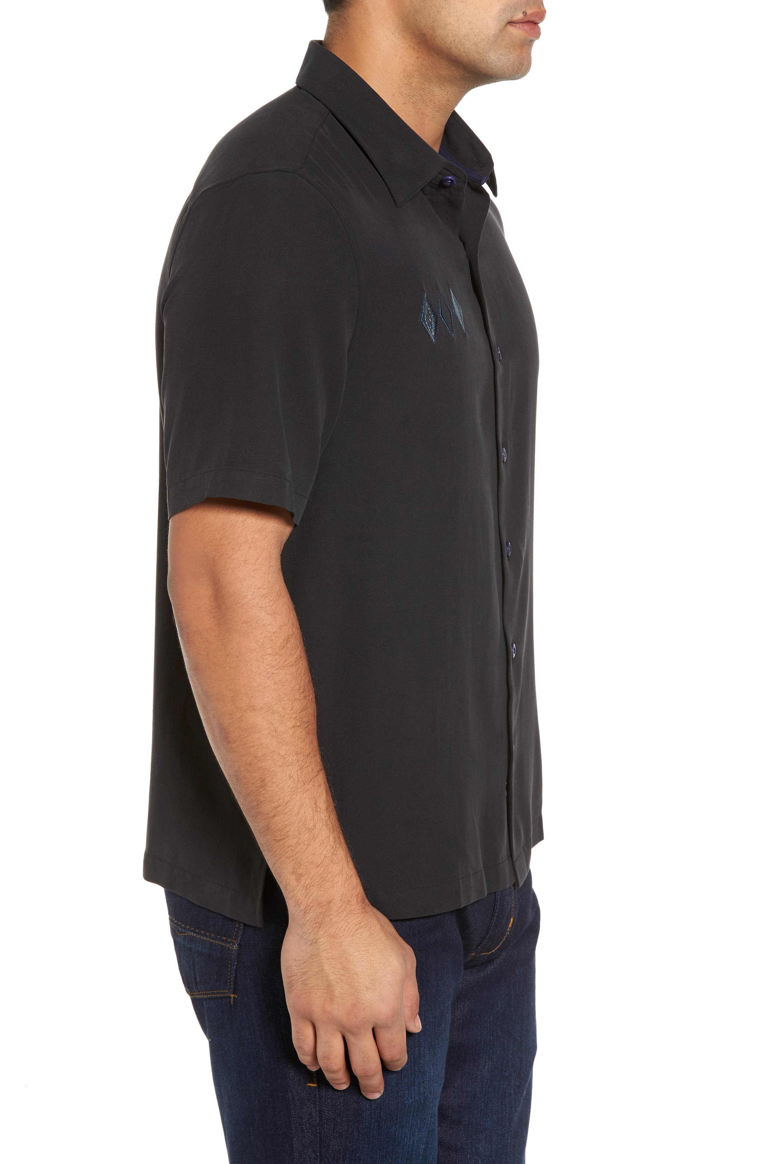 Black Diamond Regular Fit Embroidered Silk Blend Sport Shirt,                             Alternate thumbnail 3, color,                             Black