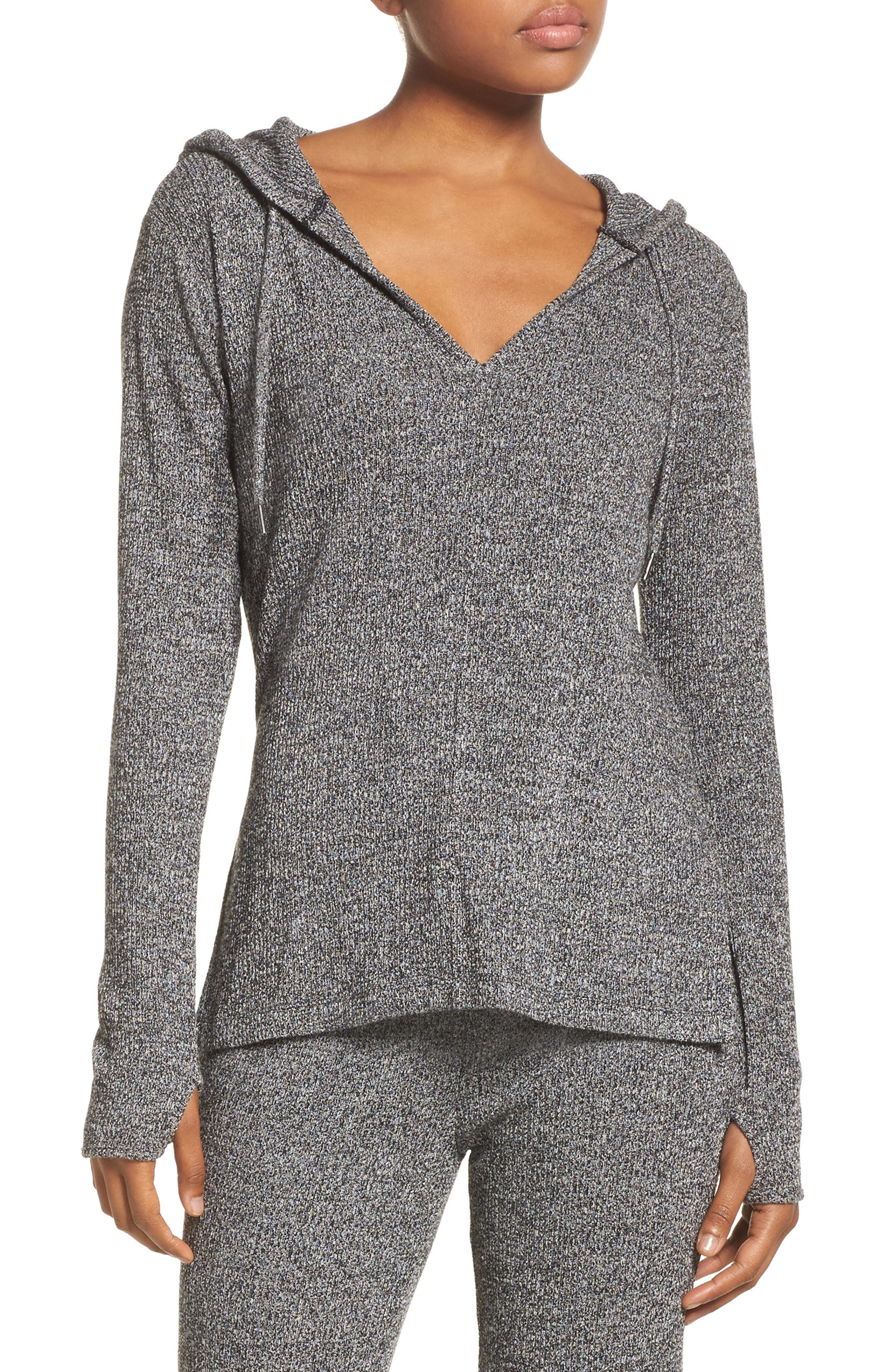Mantra Hooded Pullover Top,                             Main thumbnail 1, color,                             Black Heather