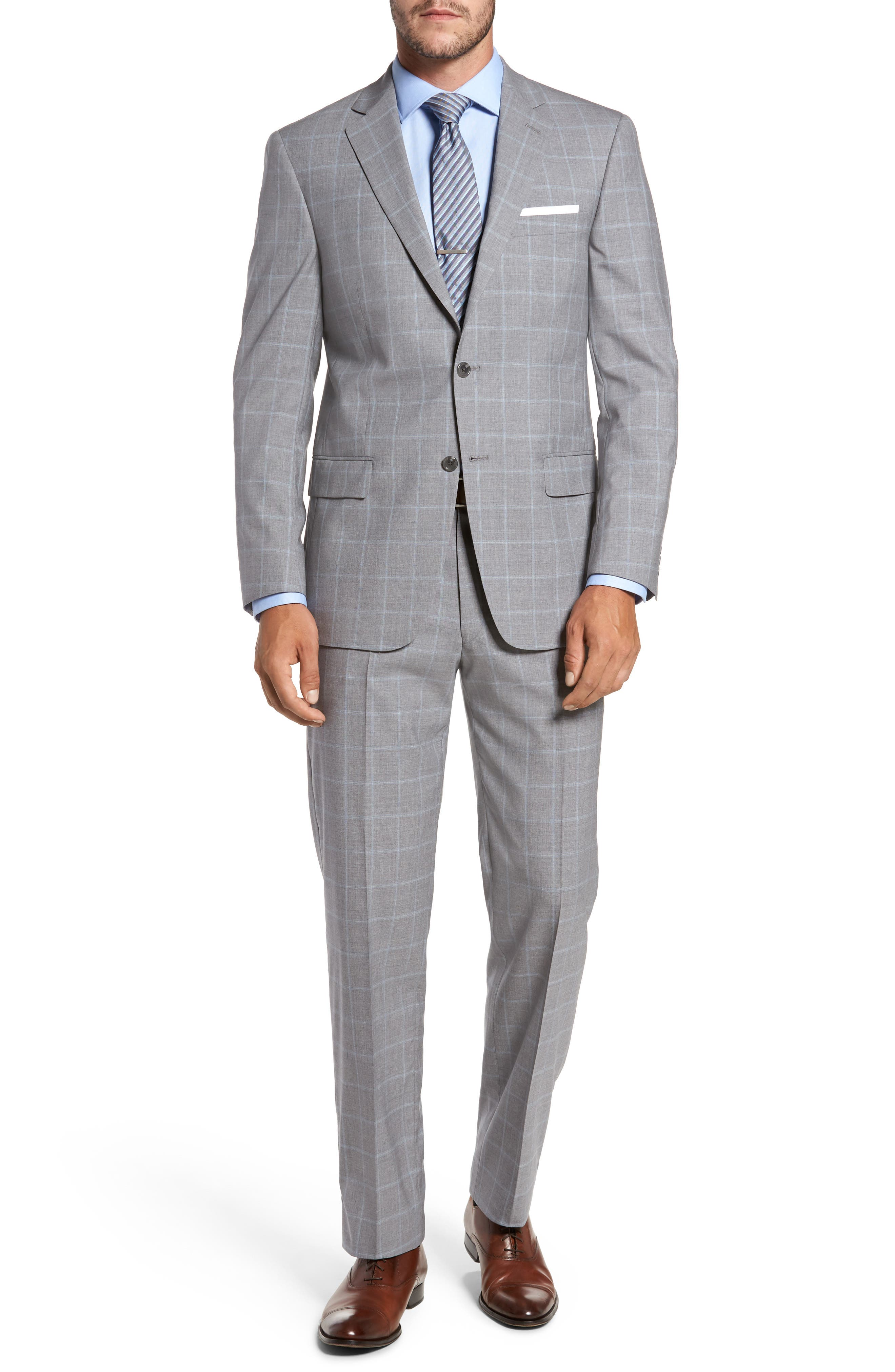 Classic Fit Windowpane Wool Suit,                         Main,                         color, Light Grey