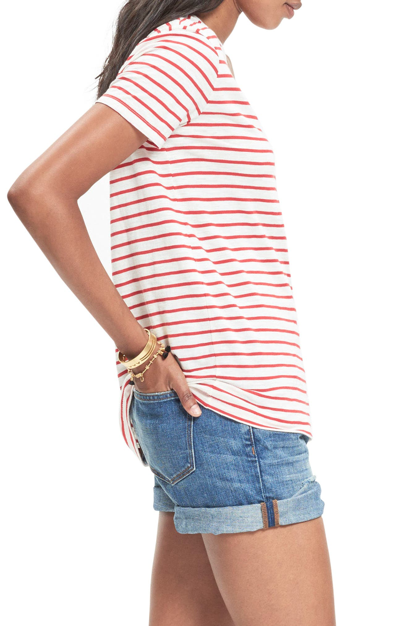 Alternate Image 3  - Madewell Whisper Cotton Stripe V-Neck Tee