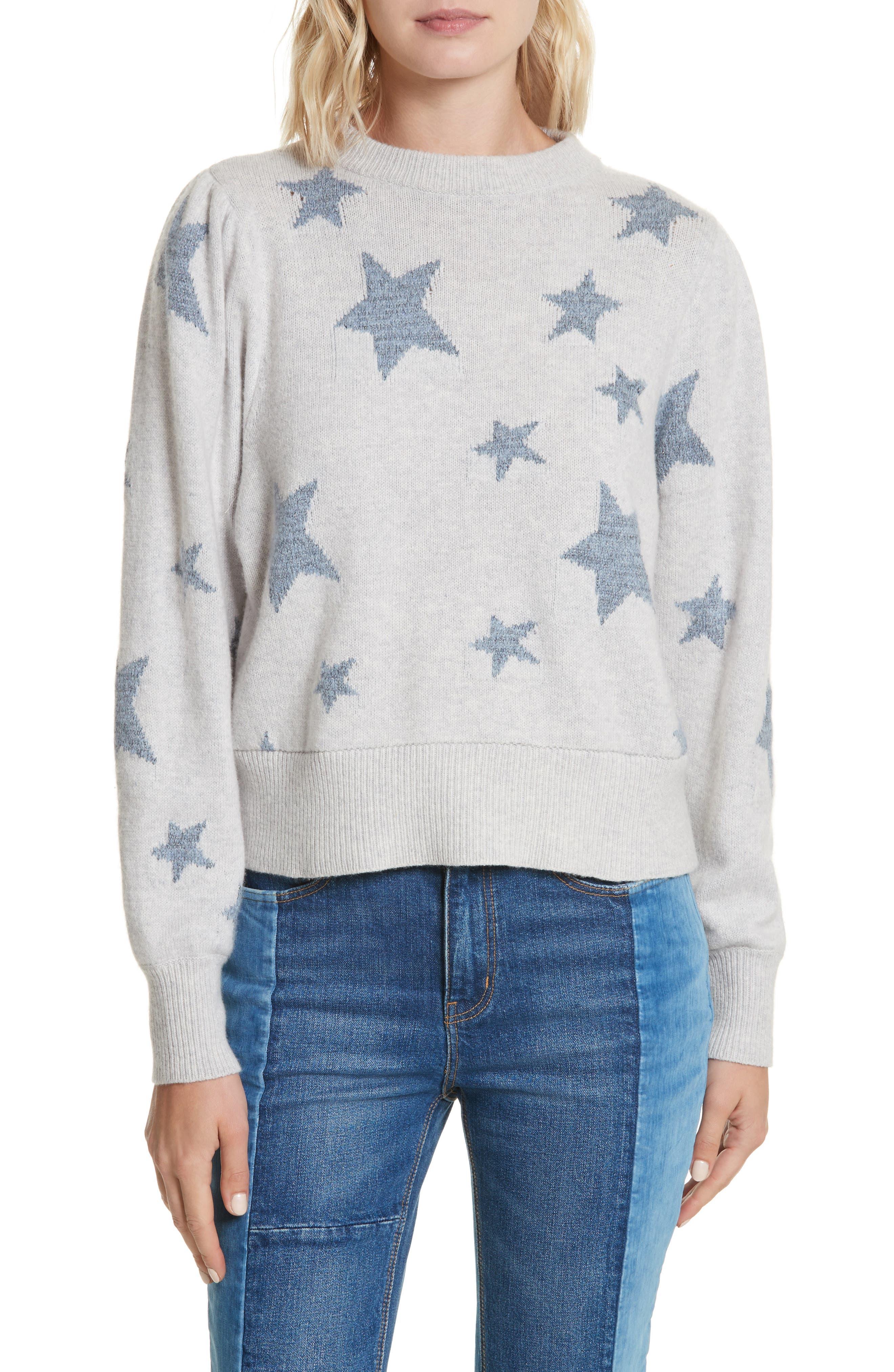 Star Intarsia Sweater,                         Main,                         color, Pearl Grey/ Silver
