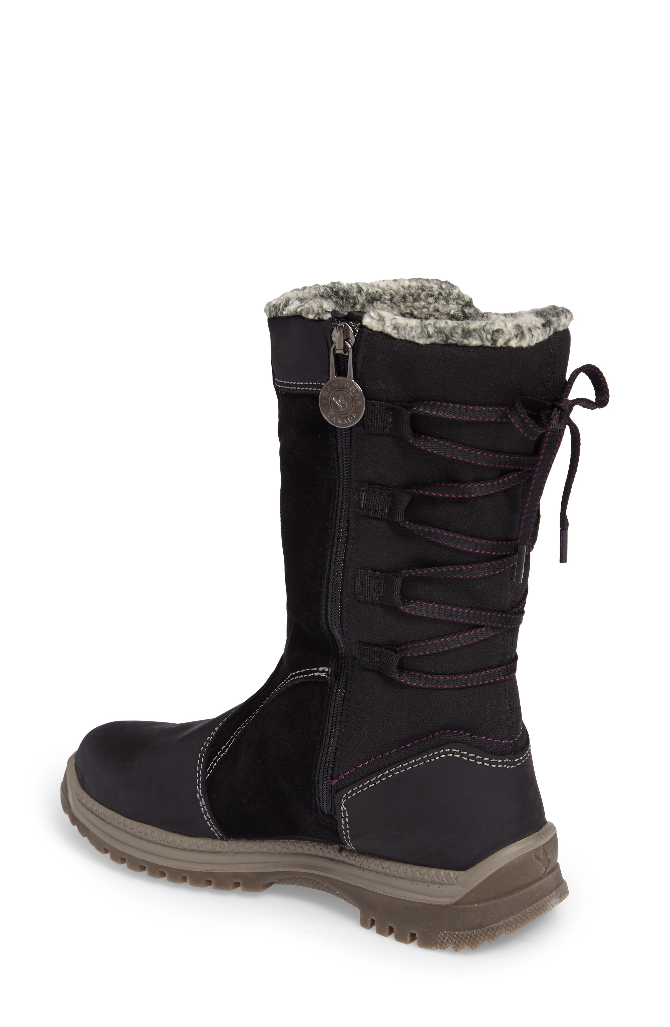 Mayer Faux Fur Lined Waterproof Boot,                             Alternate thumbnail 2, color,                             Black Leather