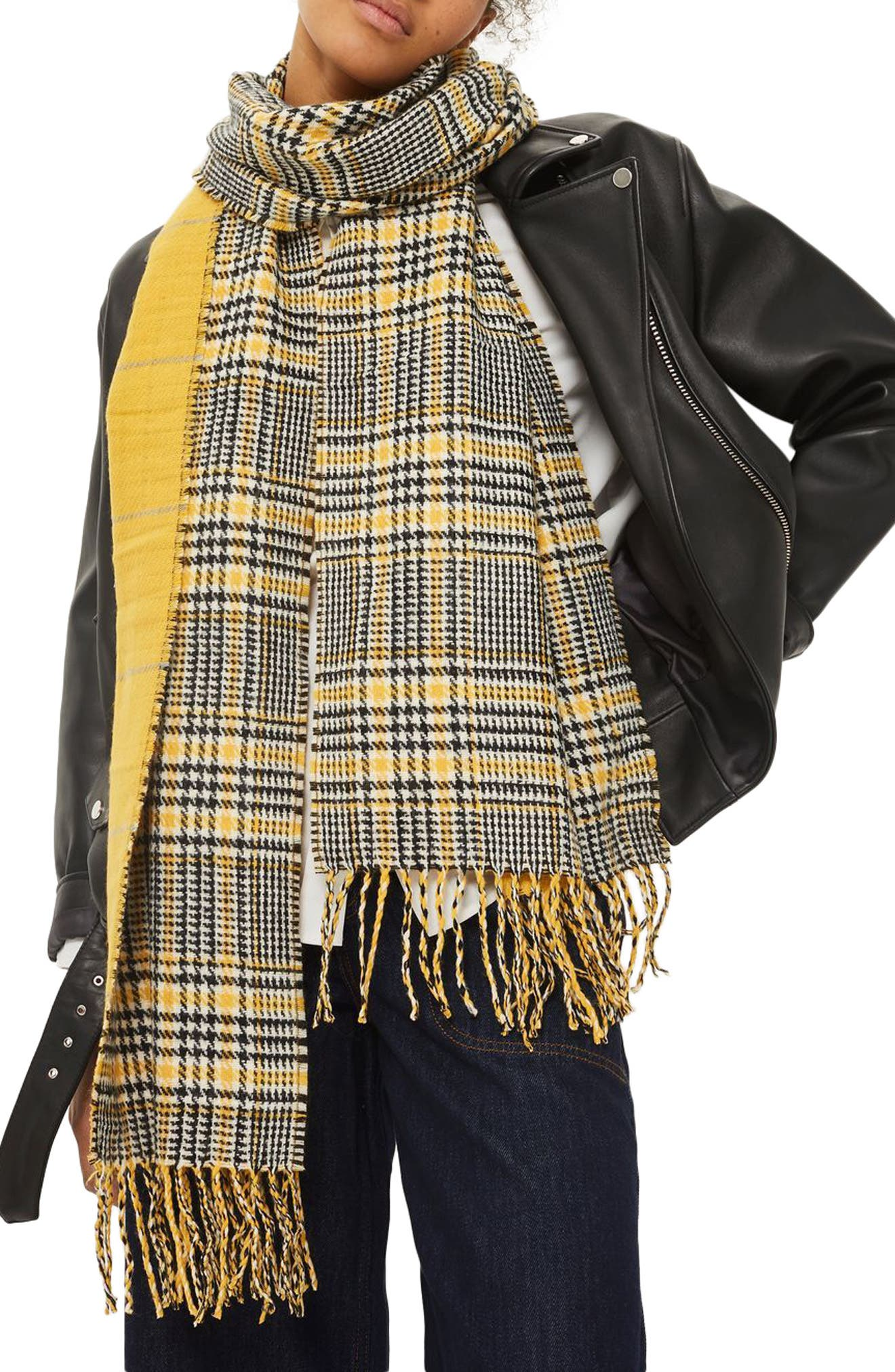 Double Face Plaid Scarf,                         Main,                         color, Yellow Multi