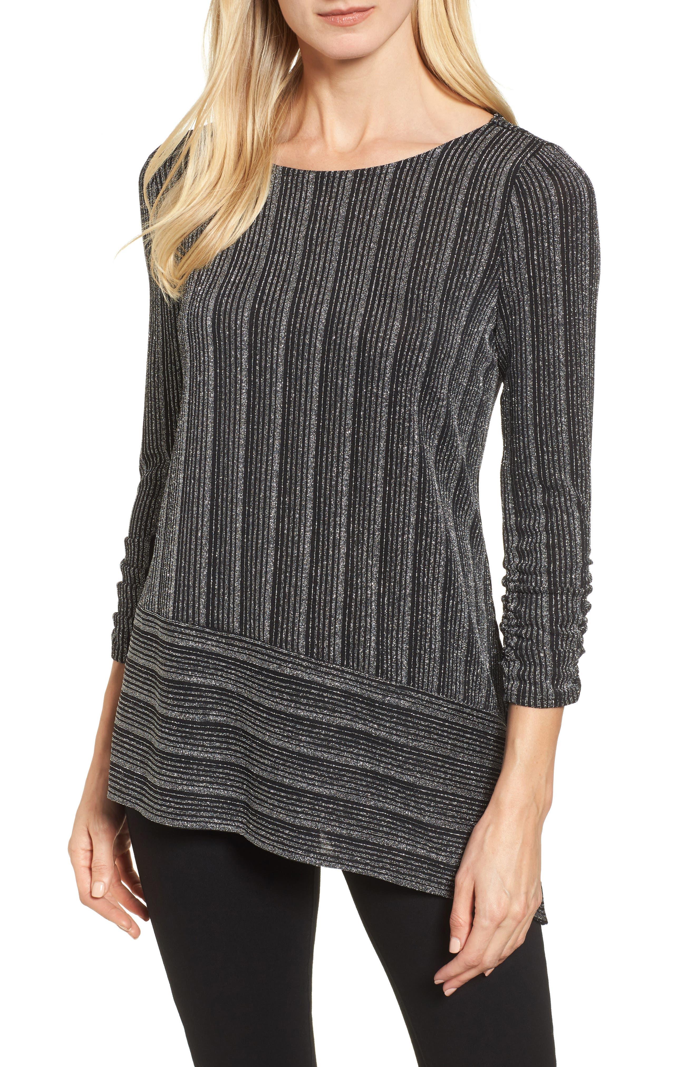 Metallic Stripe Asymmetrical Top,                         Main,                         color, Rich Black