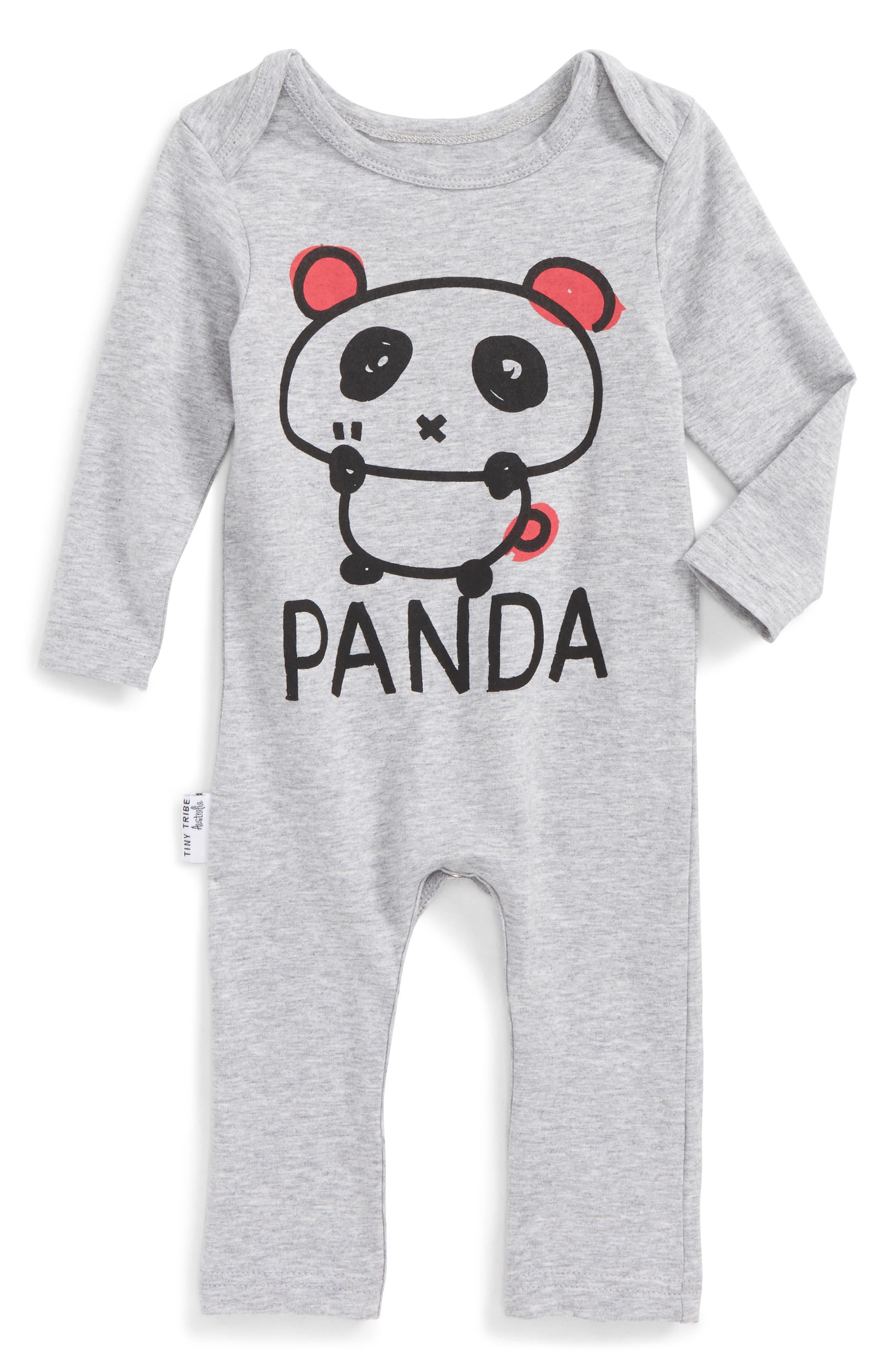 Panda Romper,                         Main,                         color, Grey