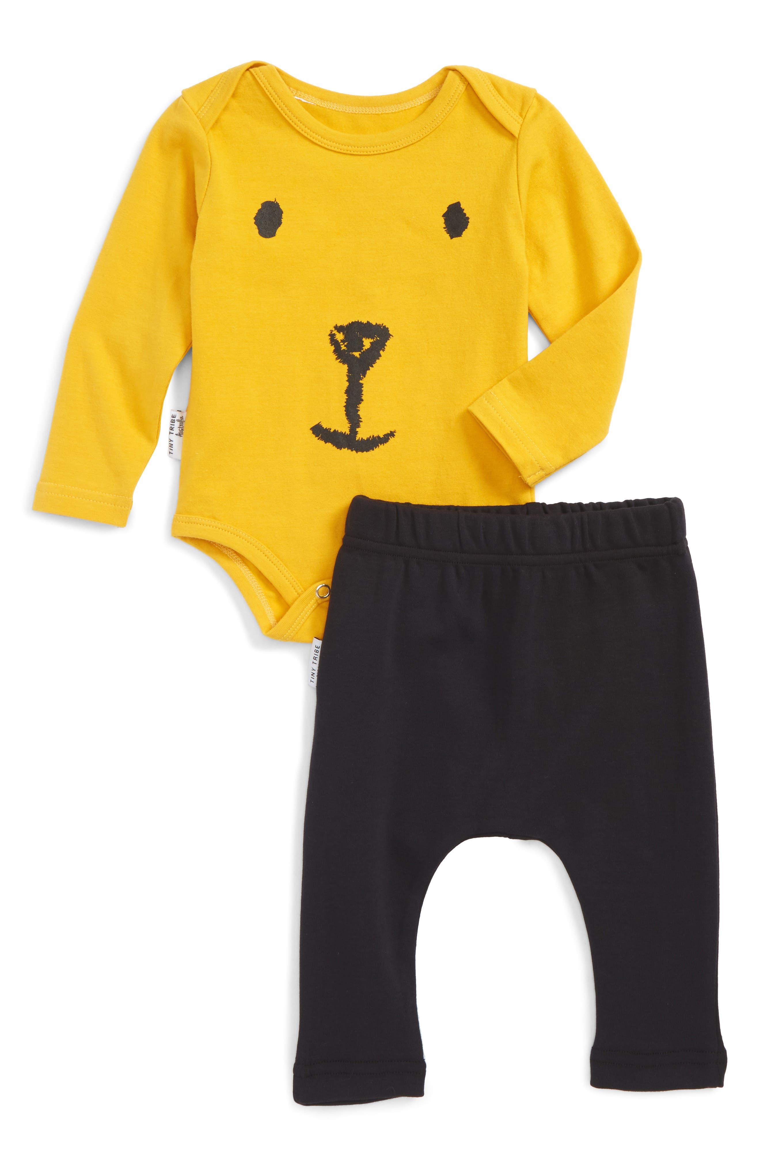 Main Image - Tiny Tribe Honey Bear Bodysuit & Track Pants Set (Baby)