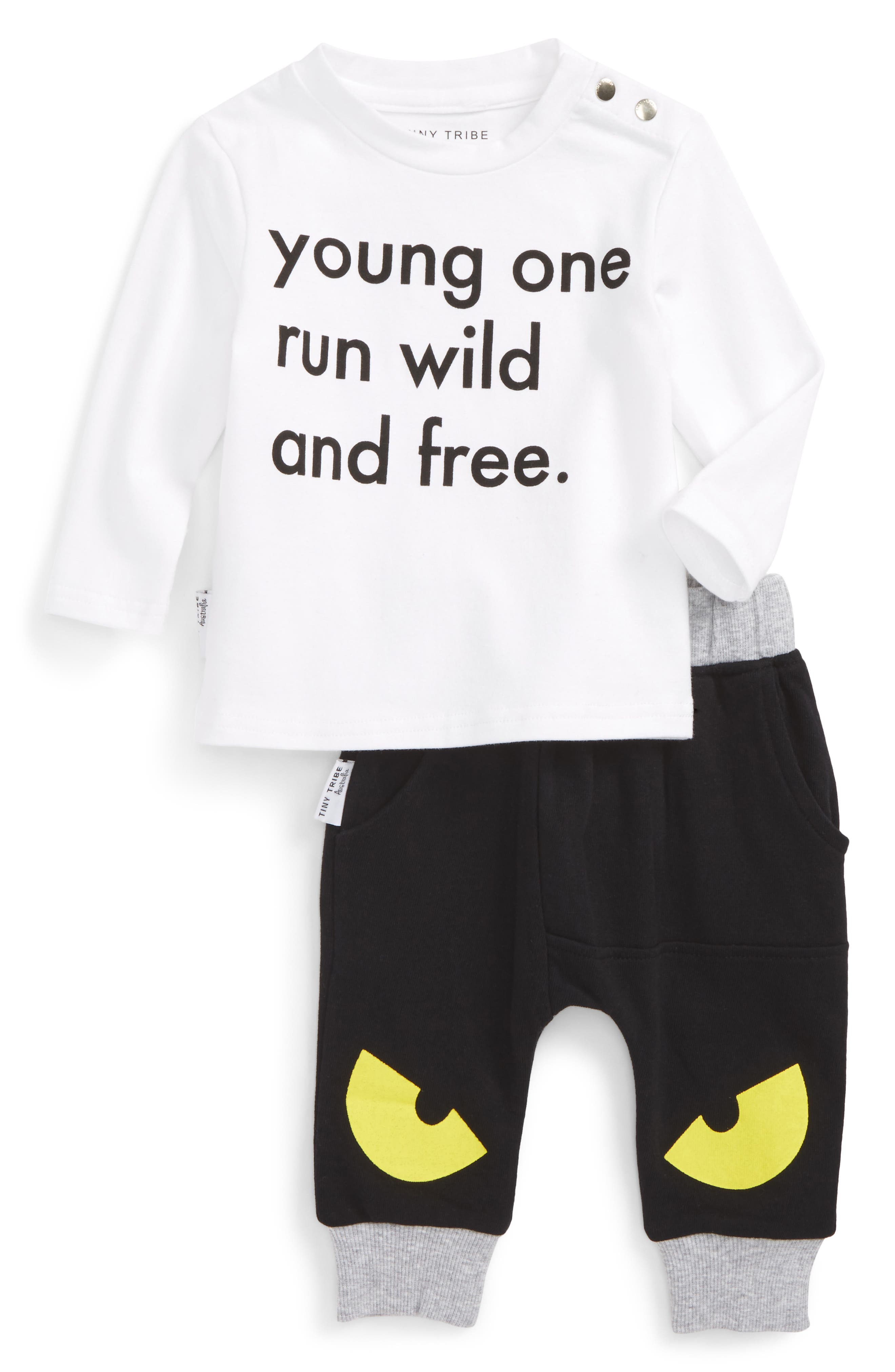 Run Wild & Free T-Shirt & Jogger Pants Set,                             Alternate thumbnail 4, color,                             White/ Black