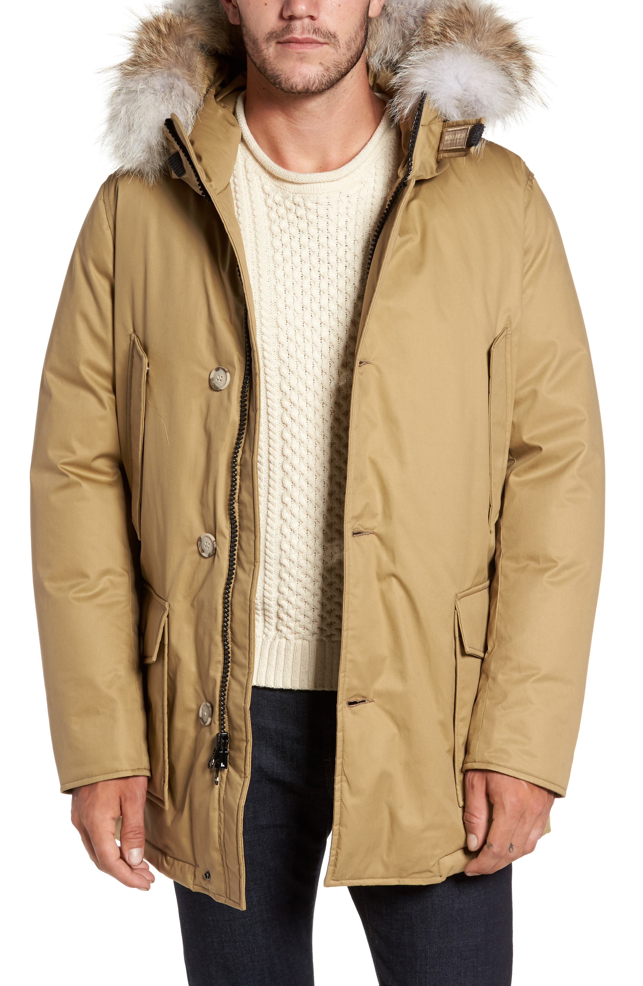 Main Image - Woolrich John Rich & Bros. Laminated Cotton Down Parka with Genuine Coyote Fur Trim