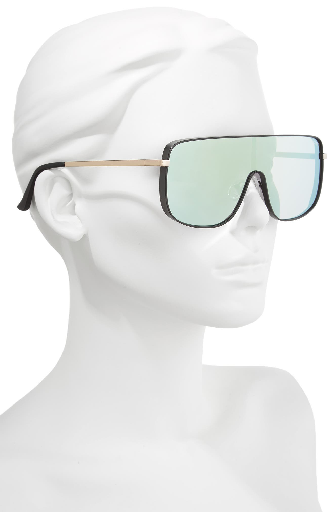 Unbothered 68mm Shield Sunglasses,                             Alternate thumbnail 2, color,                             Black/ Mint