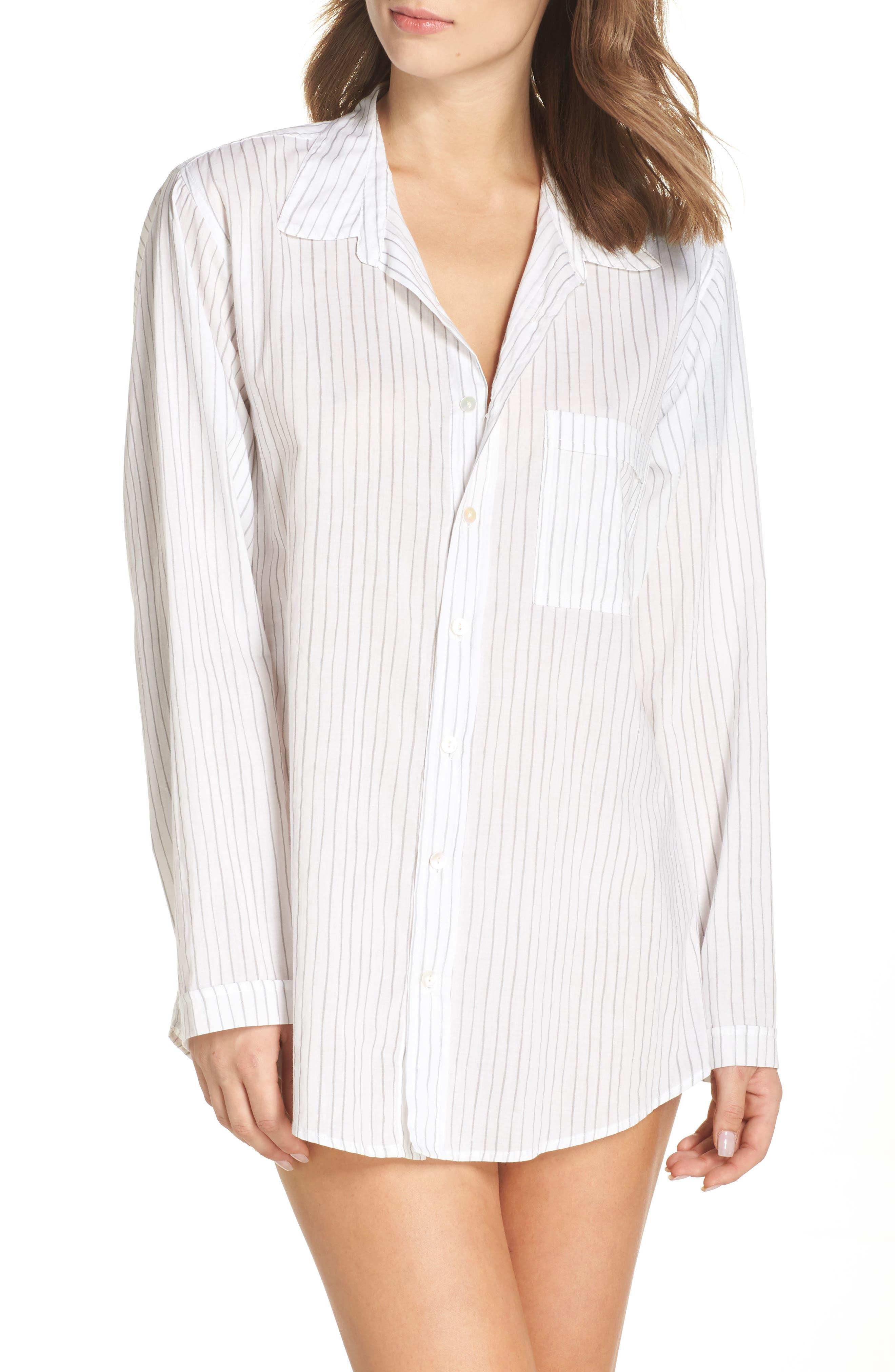 Pinstripe Boyfriend Sleep Shirt,                         Main,                         color, Grey Stripe