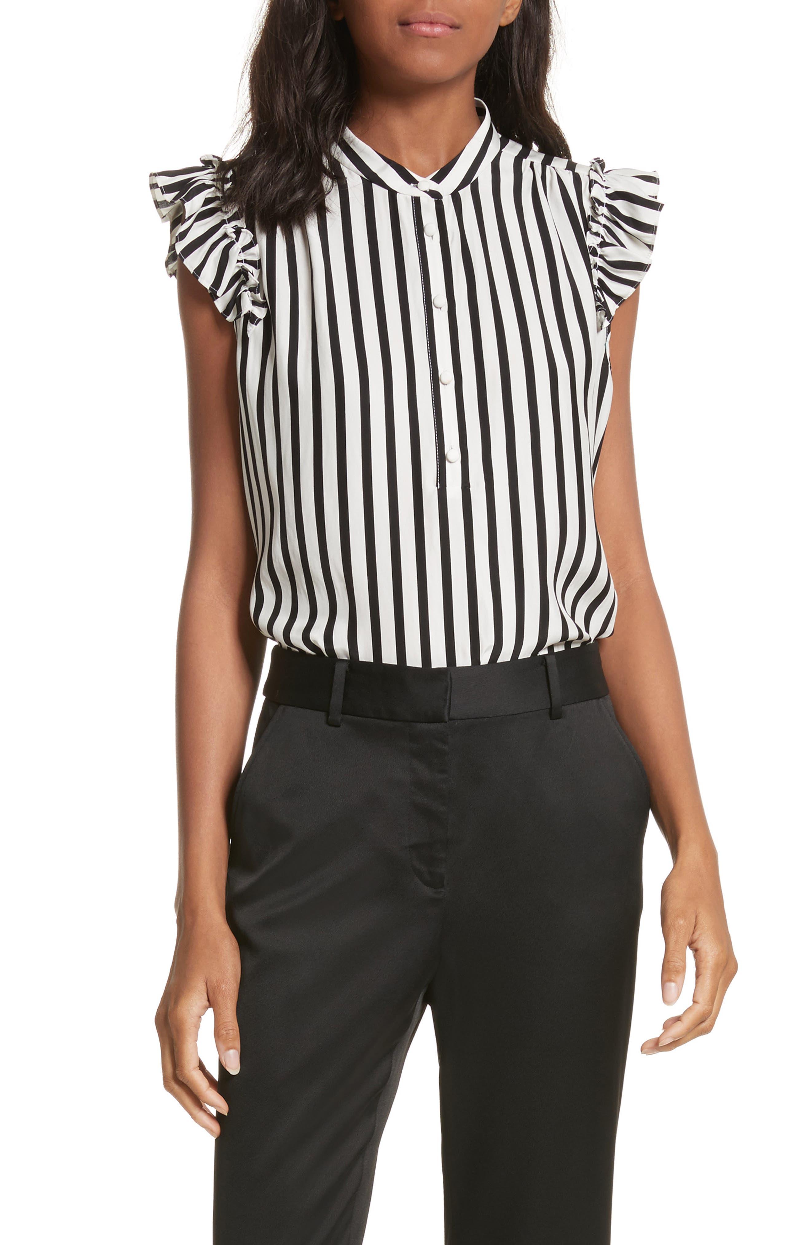 Sleeveless Silk Ruffle Blouse,                         Main,                         color, Noir Multi
