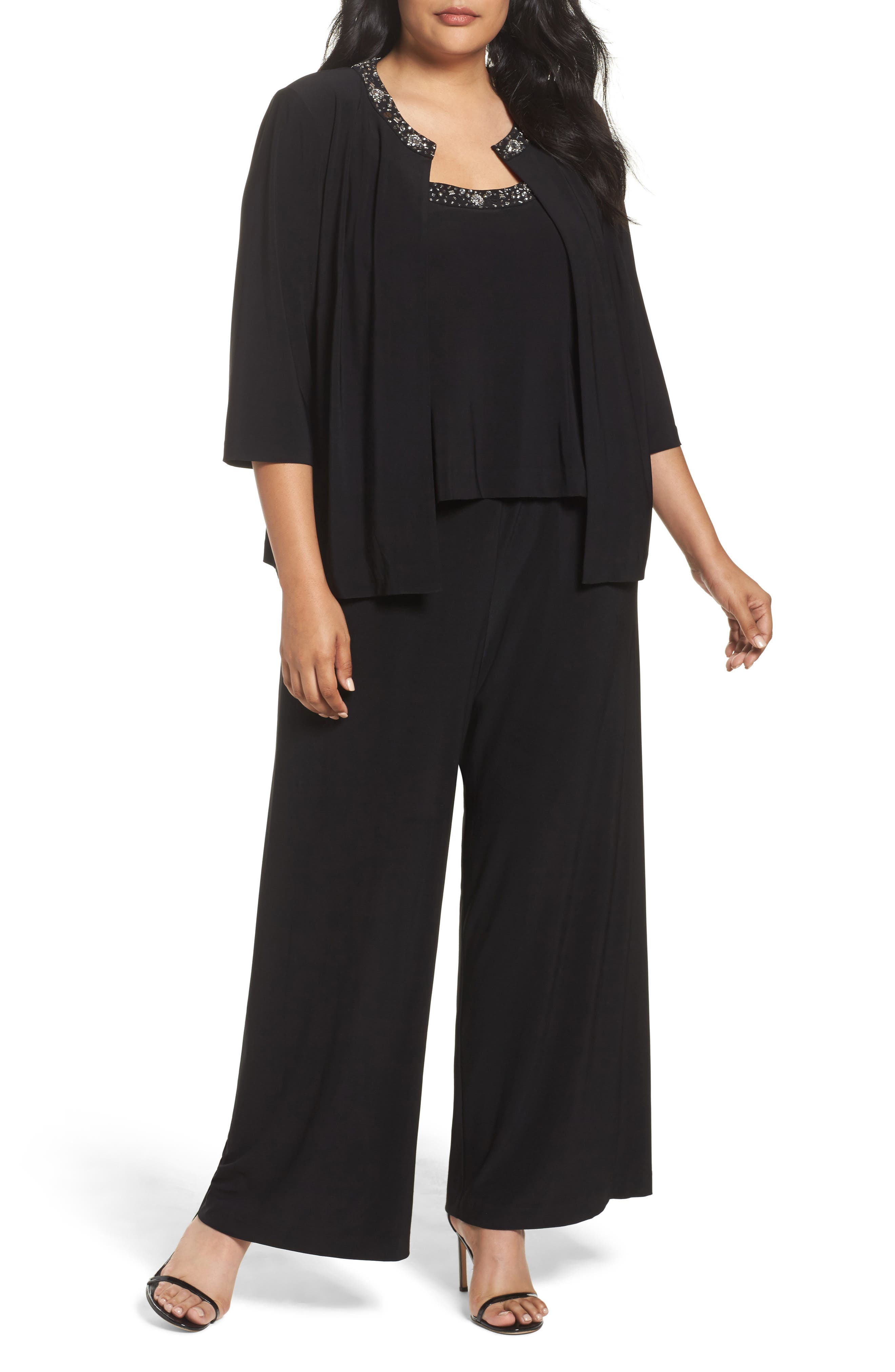 Embellished Three-Piece Pant Suit,                         Main,                         color, Black