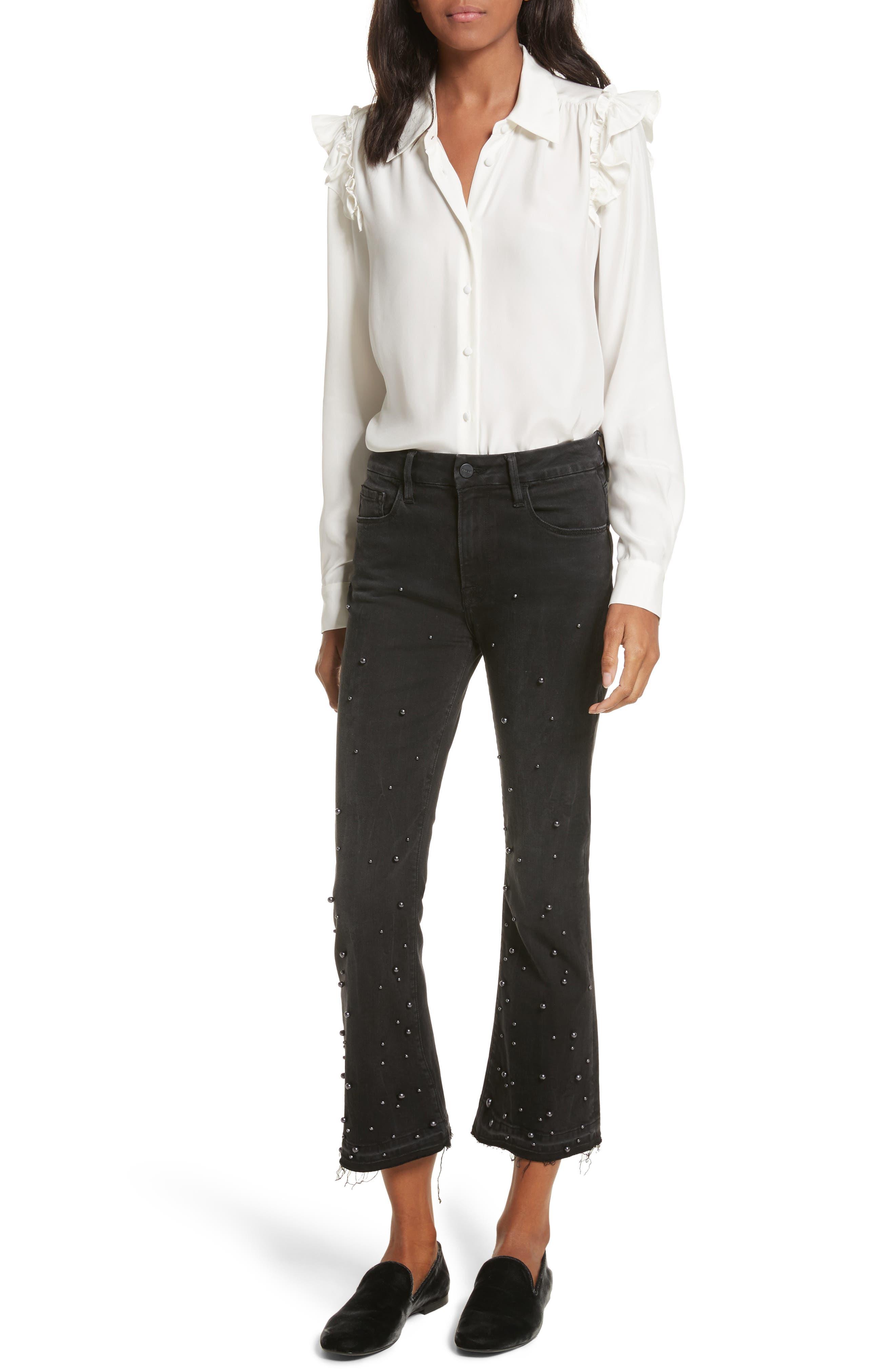 Frame Le Crop Mini Boot Released Hem Embellished Jeans in Mott Street np6IKQLtm4