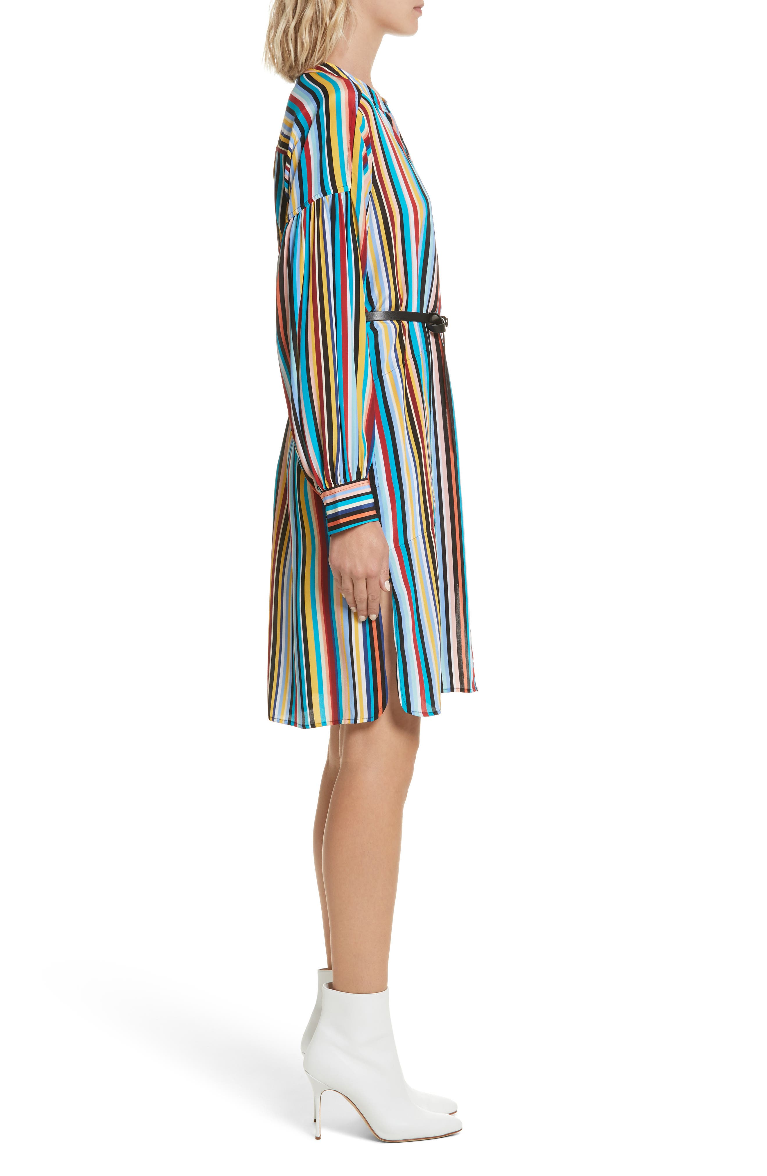 Stripe Silk Shirtdress,                             Alternate thumbnail 3, color,                             Skinny Stripes