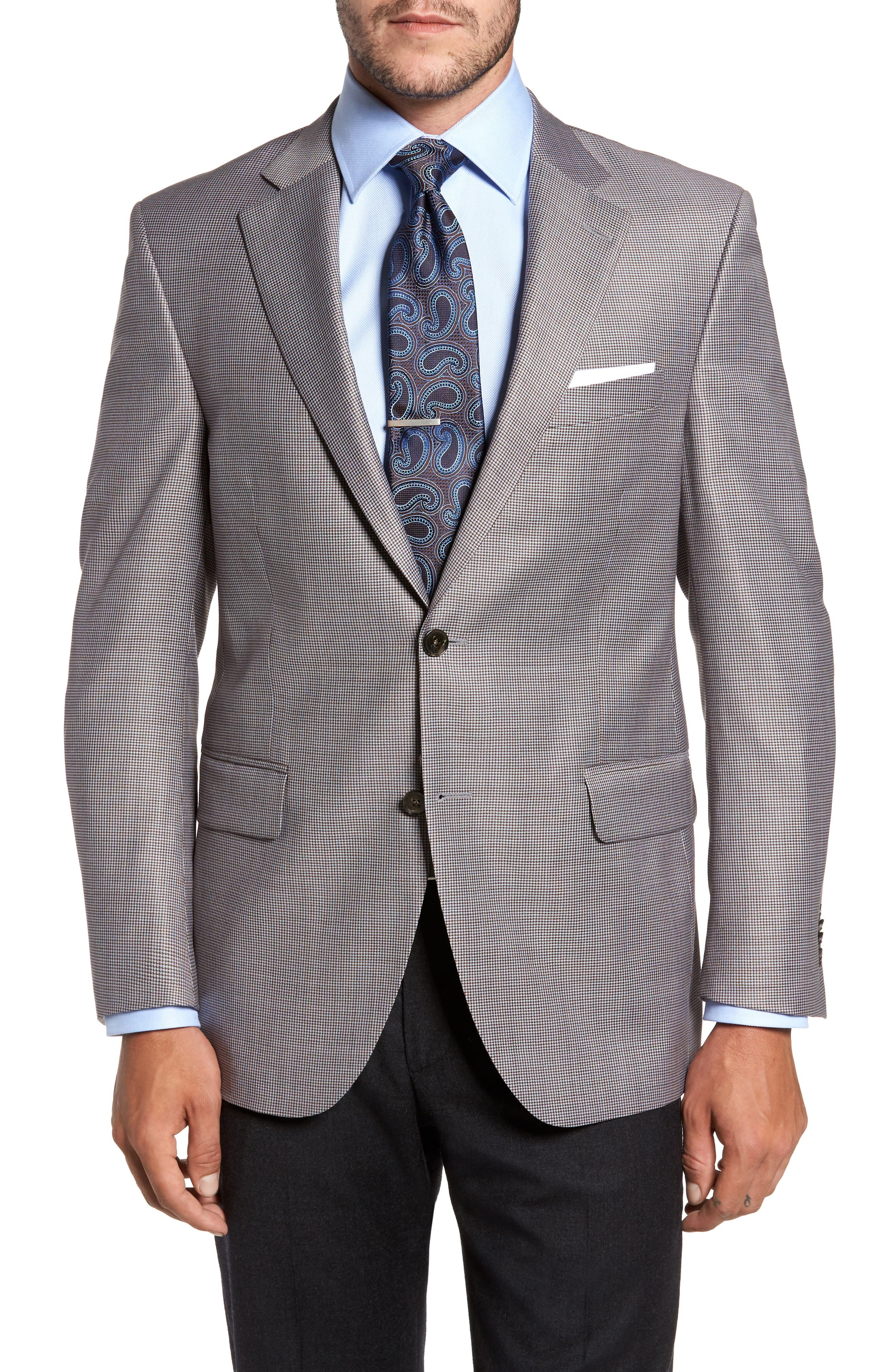 Classic Fit Houndstooth Wool Sport Coat,                         Main,                         color, Blue