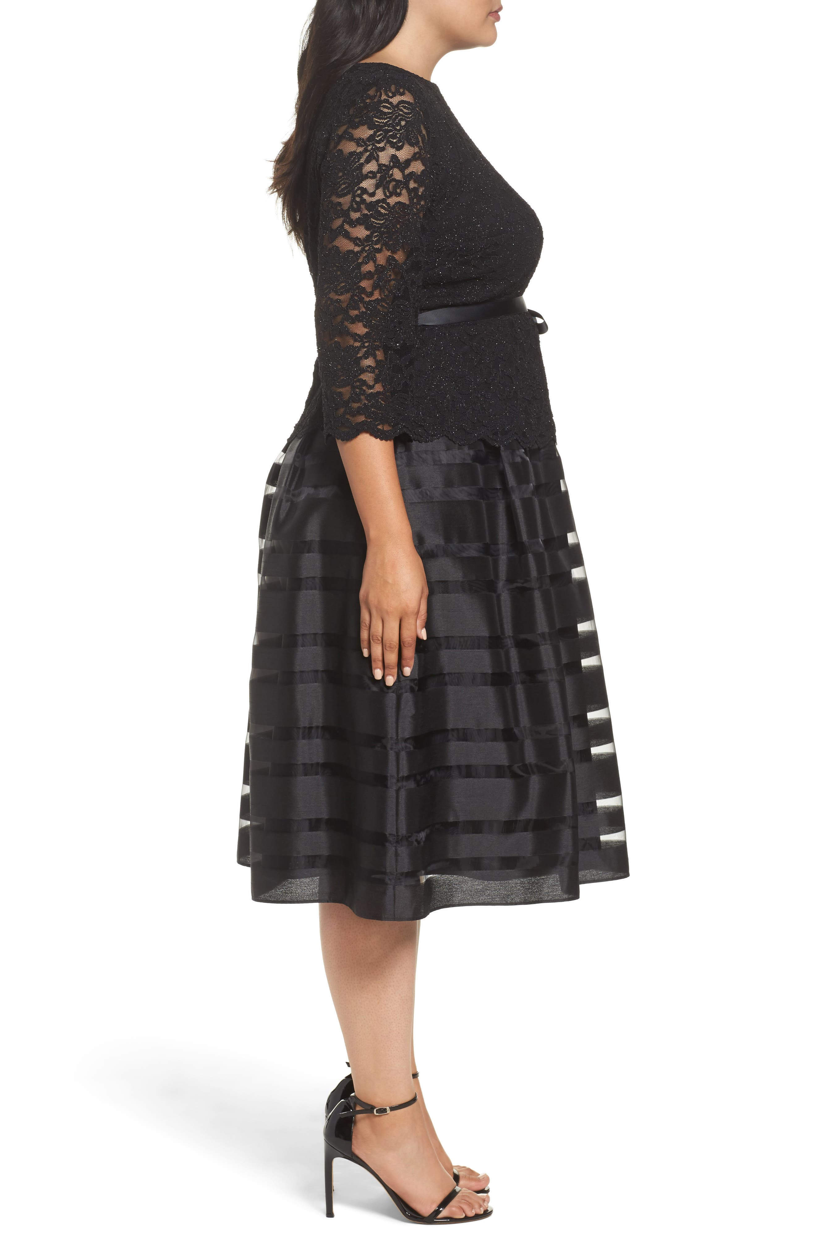 Alternate Image 3  - Alex Evenings Mock Two-Piece A-Line Midi Dress (Plus Size)