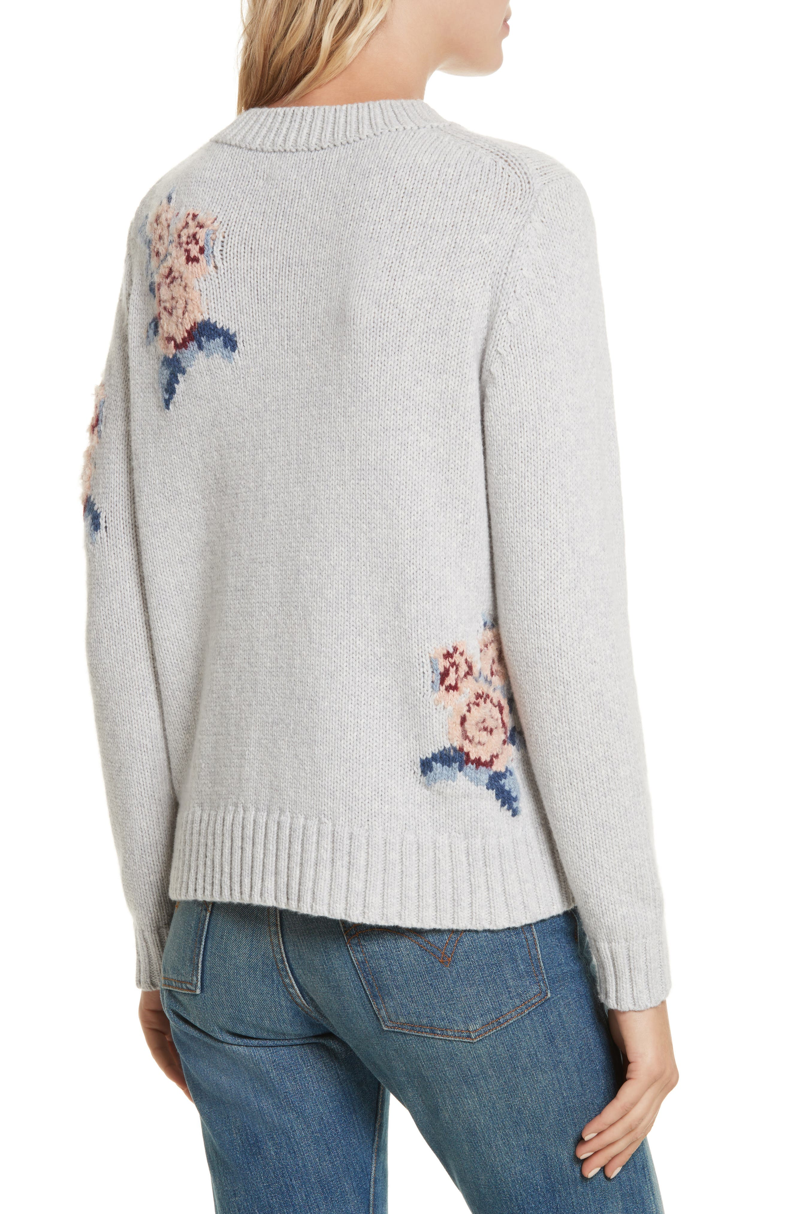 Floral Intarsia Pullover,                             Alternate thumbnail 2, color,                             Light Heather Grey Combo