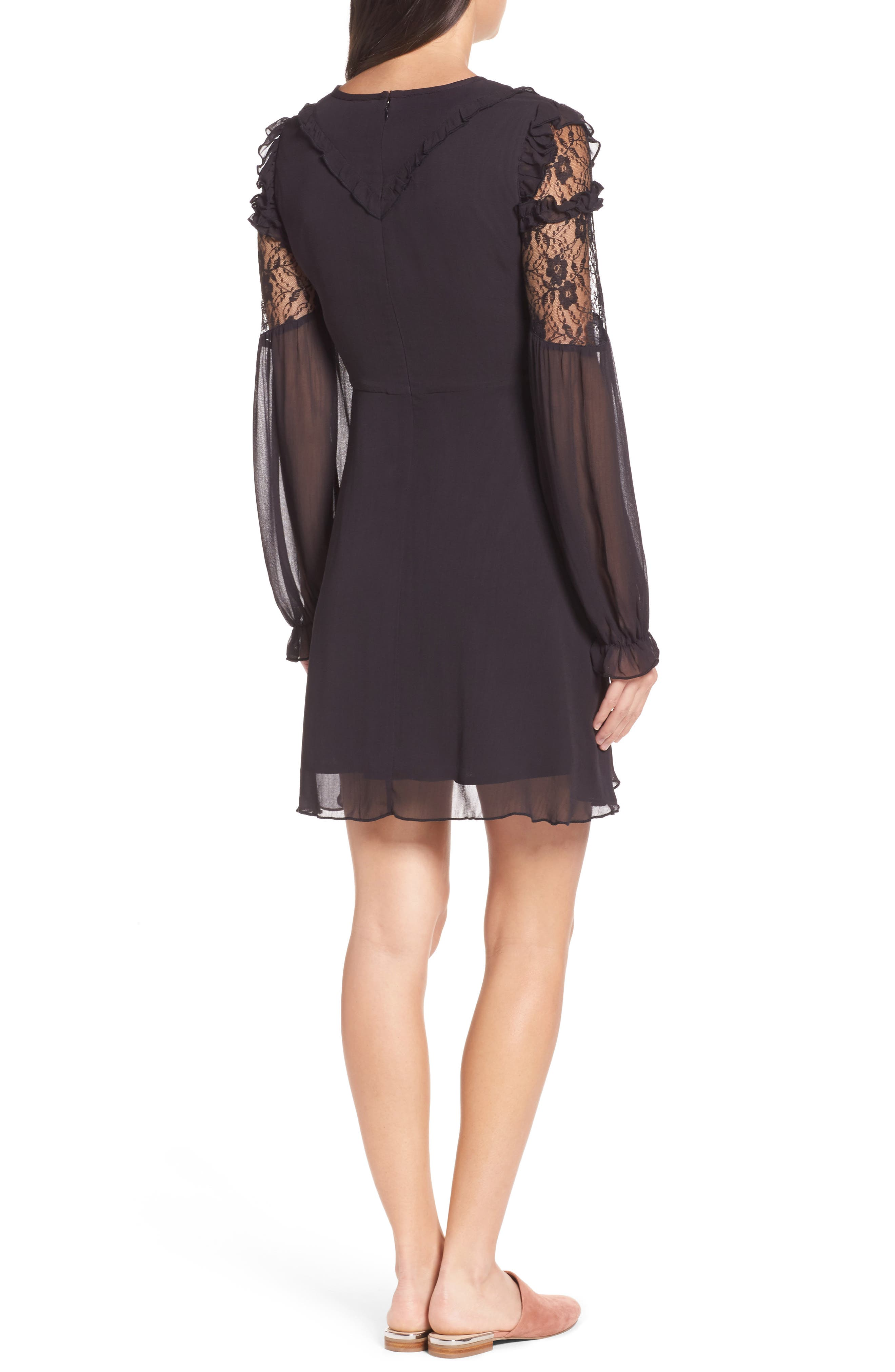 Lace & Chiffon Dress,                             Alternate thumbnail 2, color,                             Black