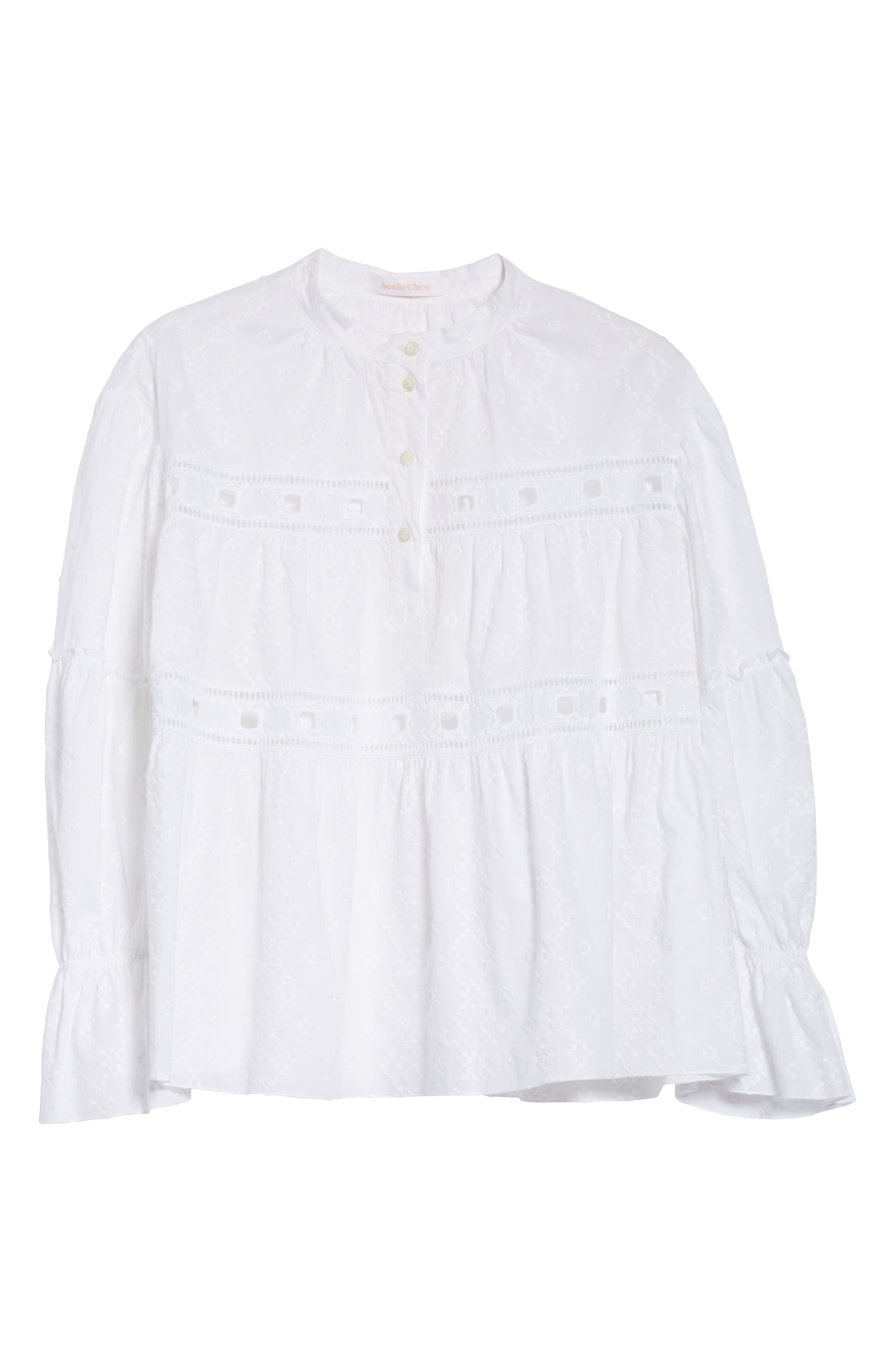 Embroidered Eyelet Blouse,                             Alternate thumbnail 6, color,                             White