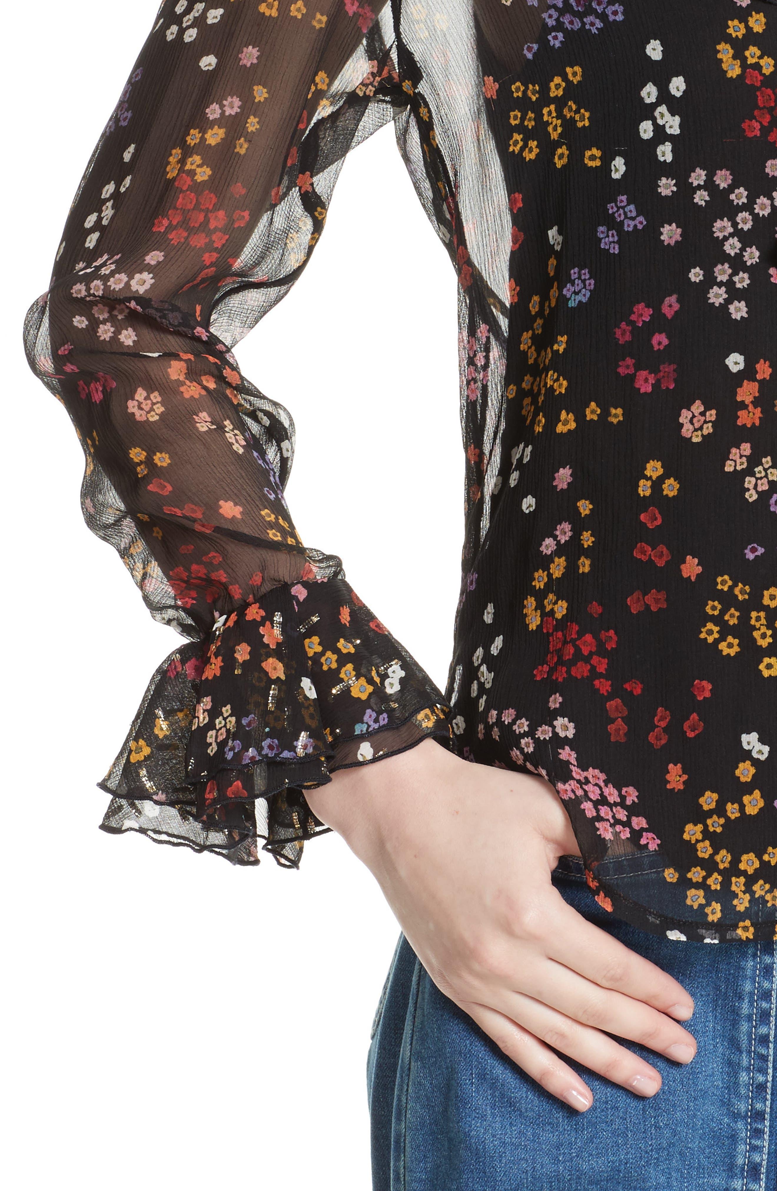 Floral Silk Blouse,                             Alternate thumbnail 4, color,                             Multicolor Black 1
