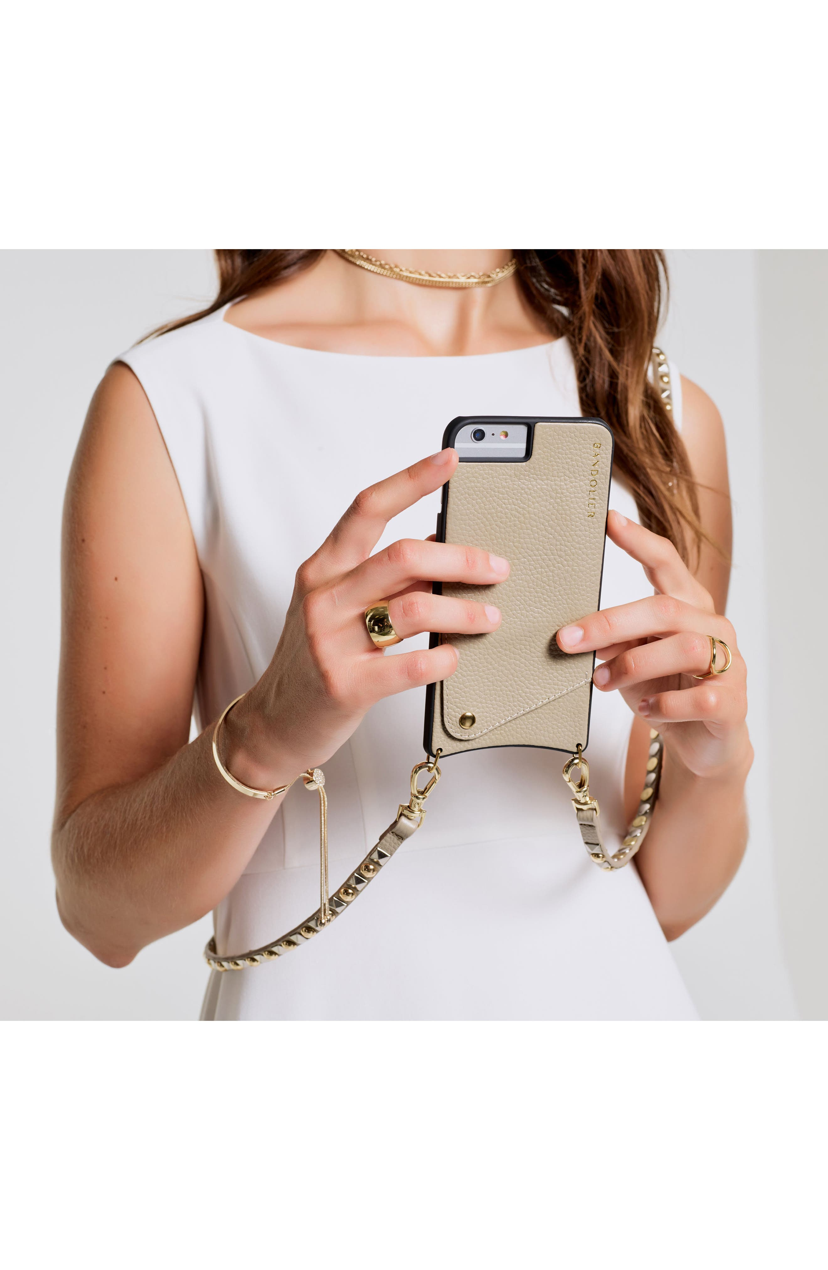 Stella iPhone 6/7/8 & 6/7/8 Plus Leather Crossbody Case,                             Alternate thumbnail 7, color,                             Pebble/ Gold/ Silver