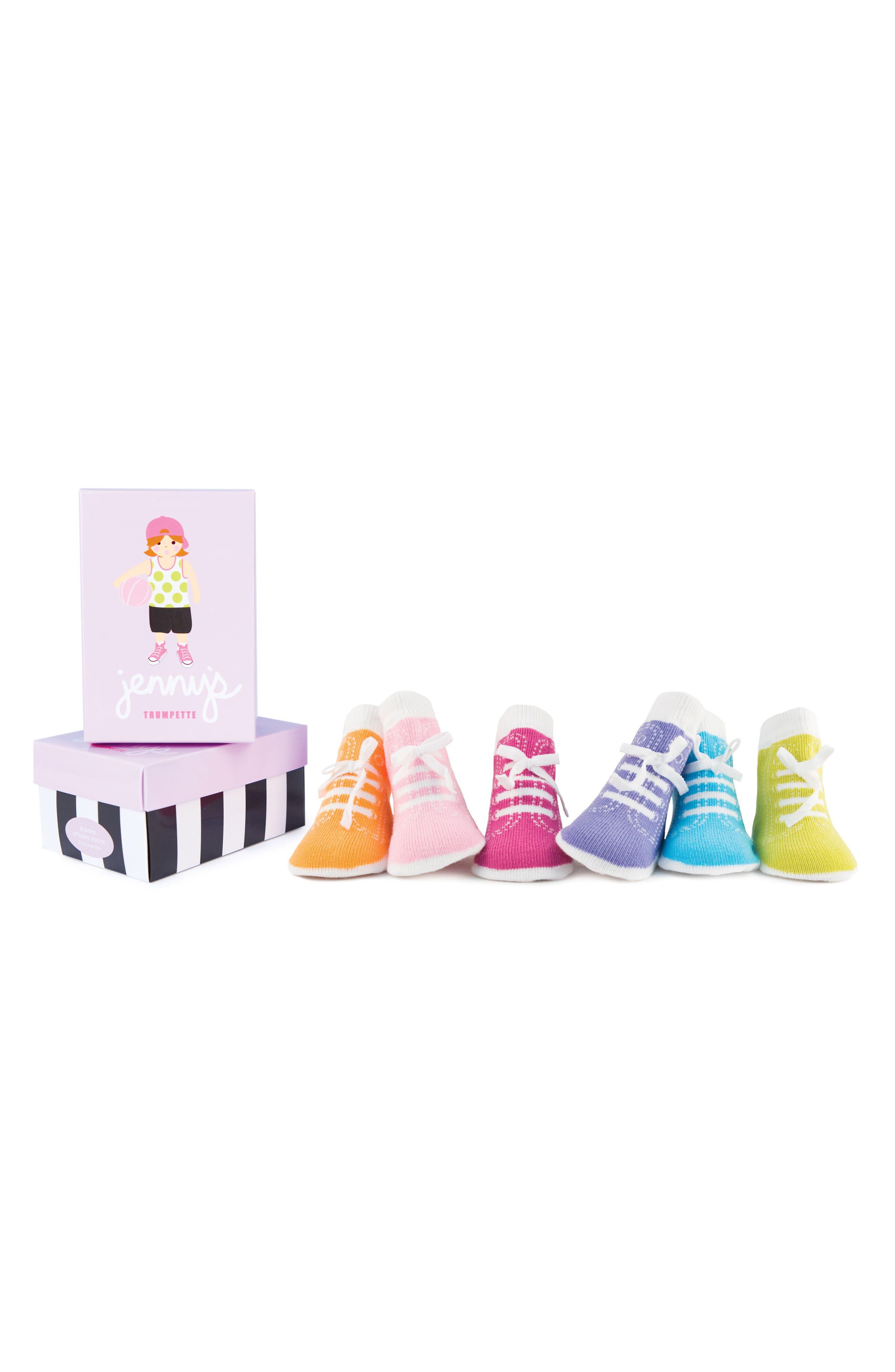 Jenny 6-Pack Socks,                         Main,                         color, Assorted