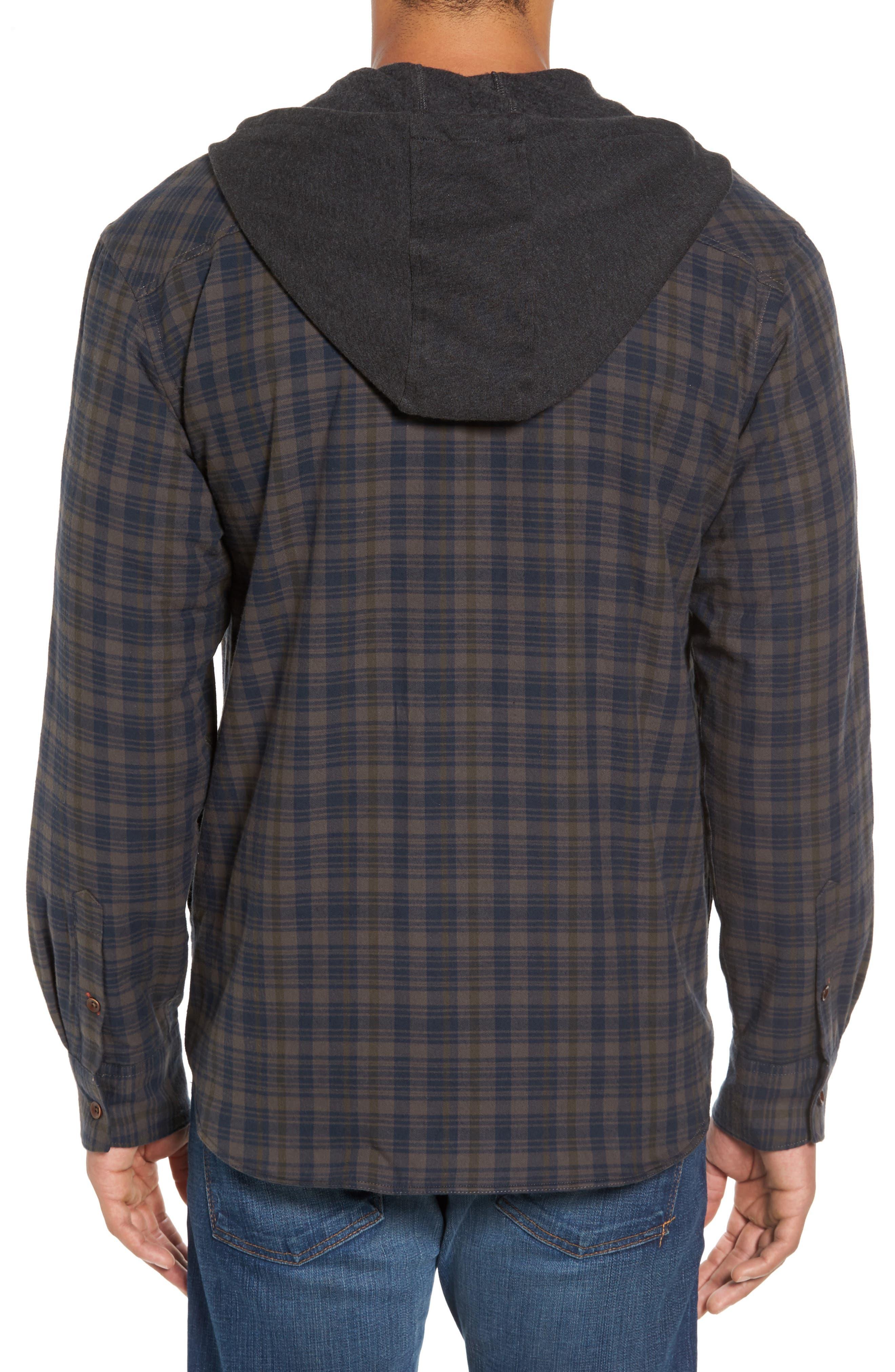 Hooded Plaid Flannel Shirt Jacket,                             Alternate thumbnail 2, color,                             Oak