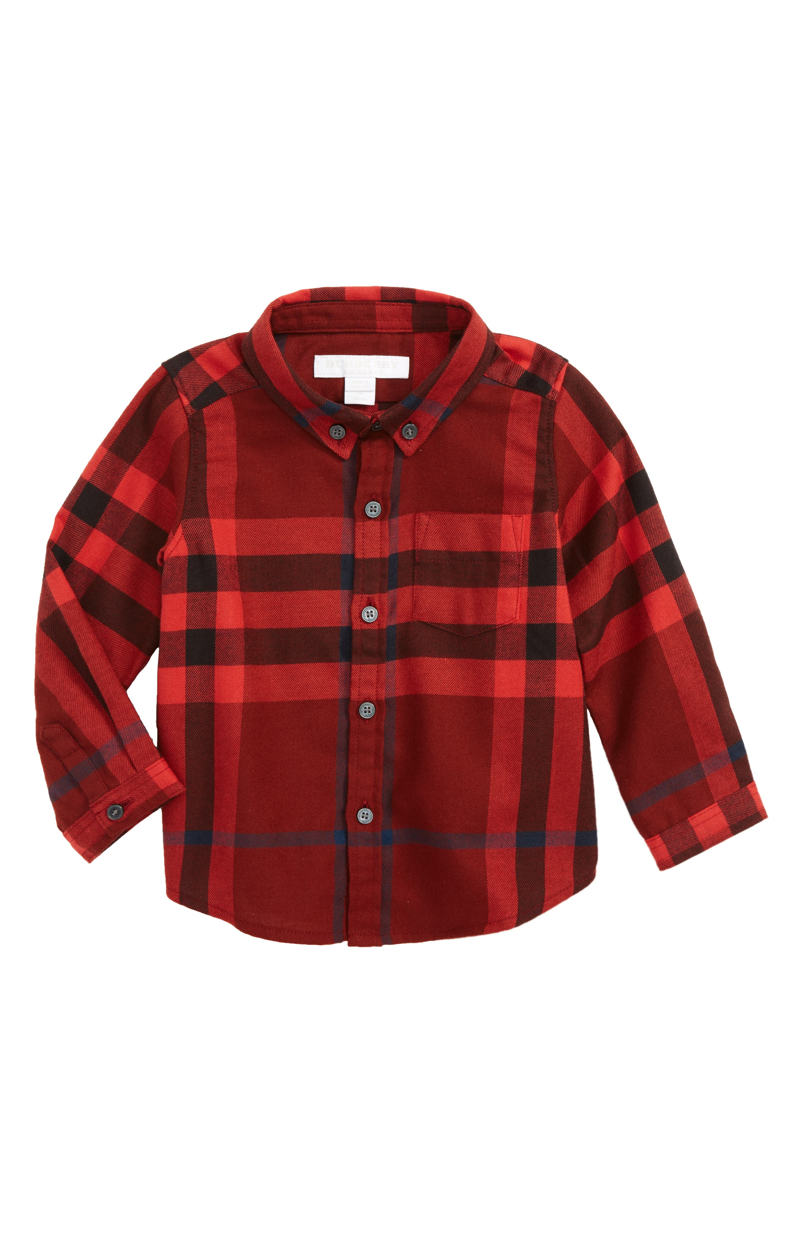 Main Image - Burberry Mini Fred Flannel Button-Down Shirt (Baby Boys)