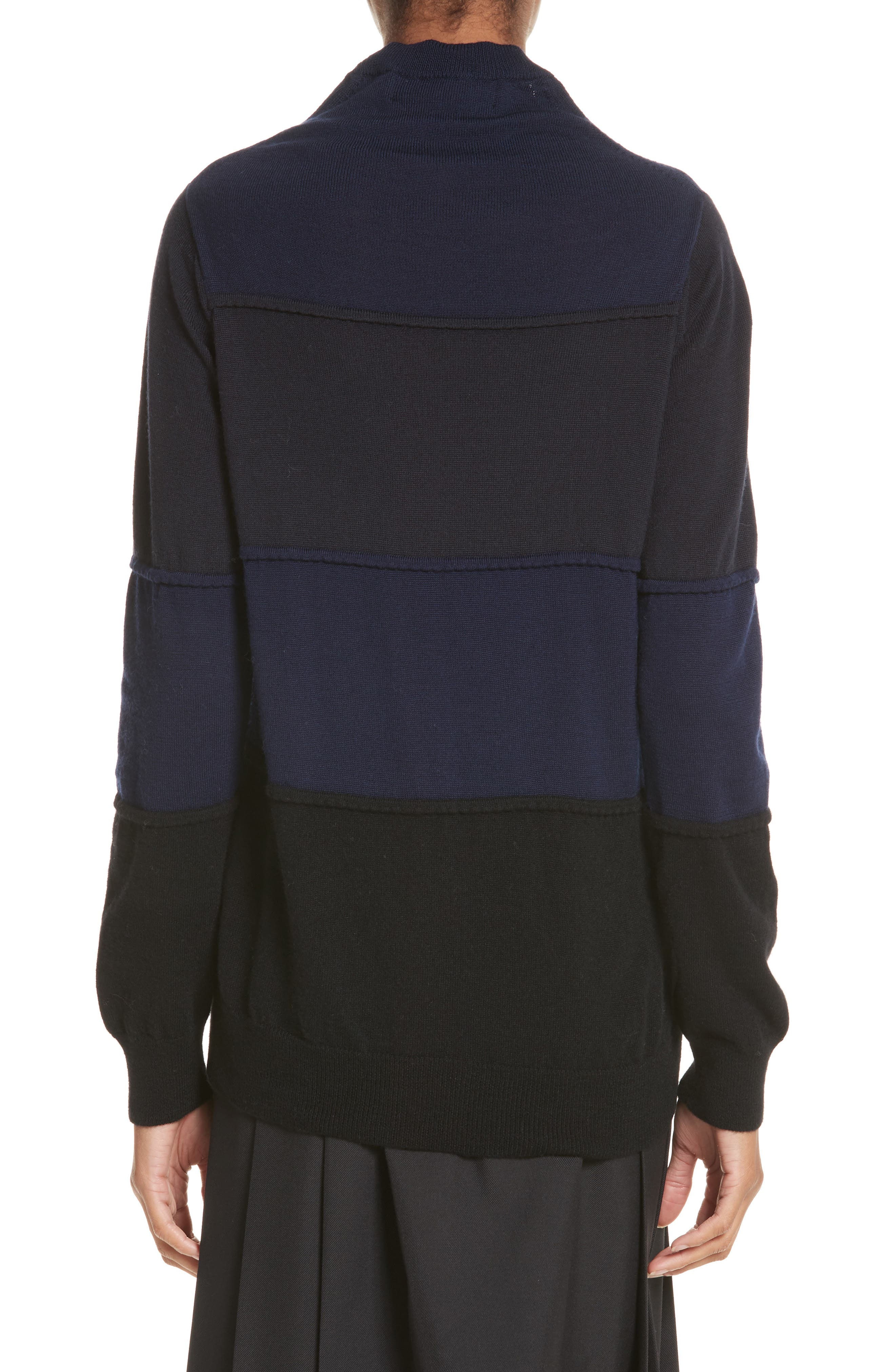 Pintuck Stripe Sweater,                             Alternate thumbnail 2, color,                             Navy