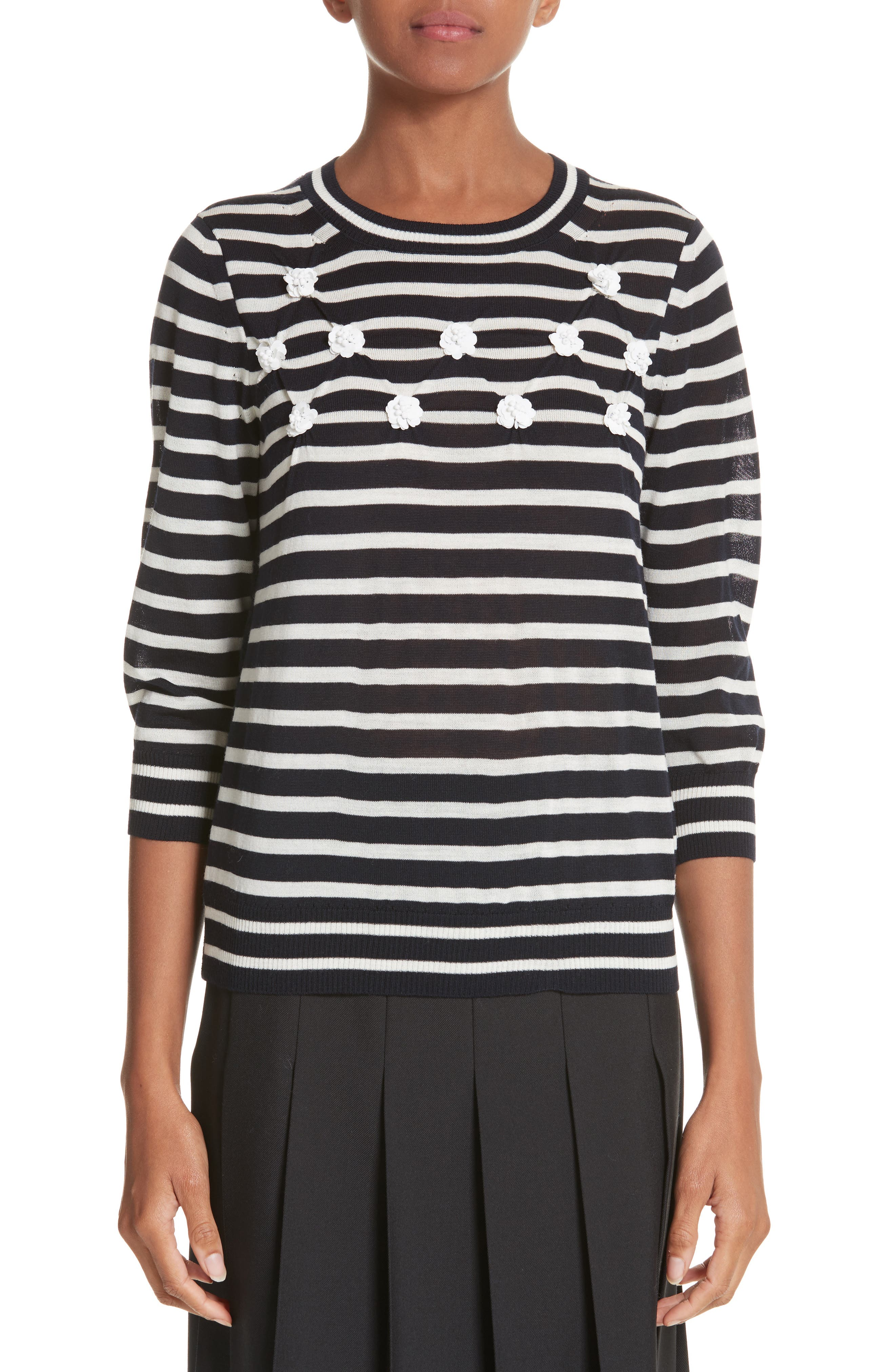 Button Back Stripe Sweater,                         Main,                         color, Navy