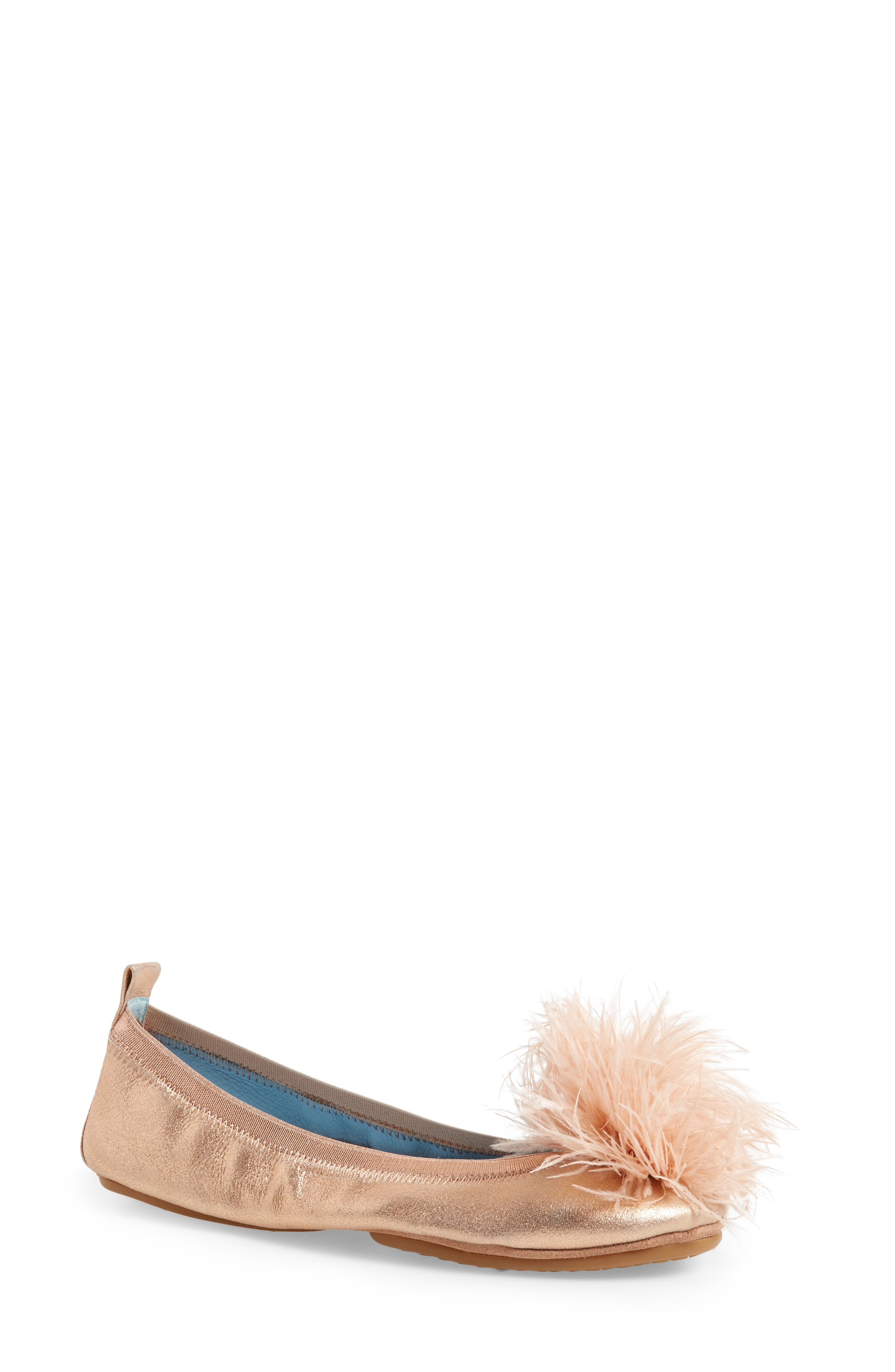 Yosi Samra Marabou Feather Pompom Flat (Women)
