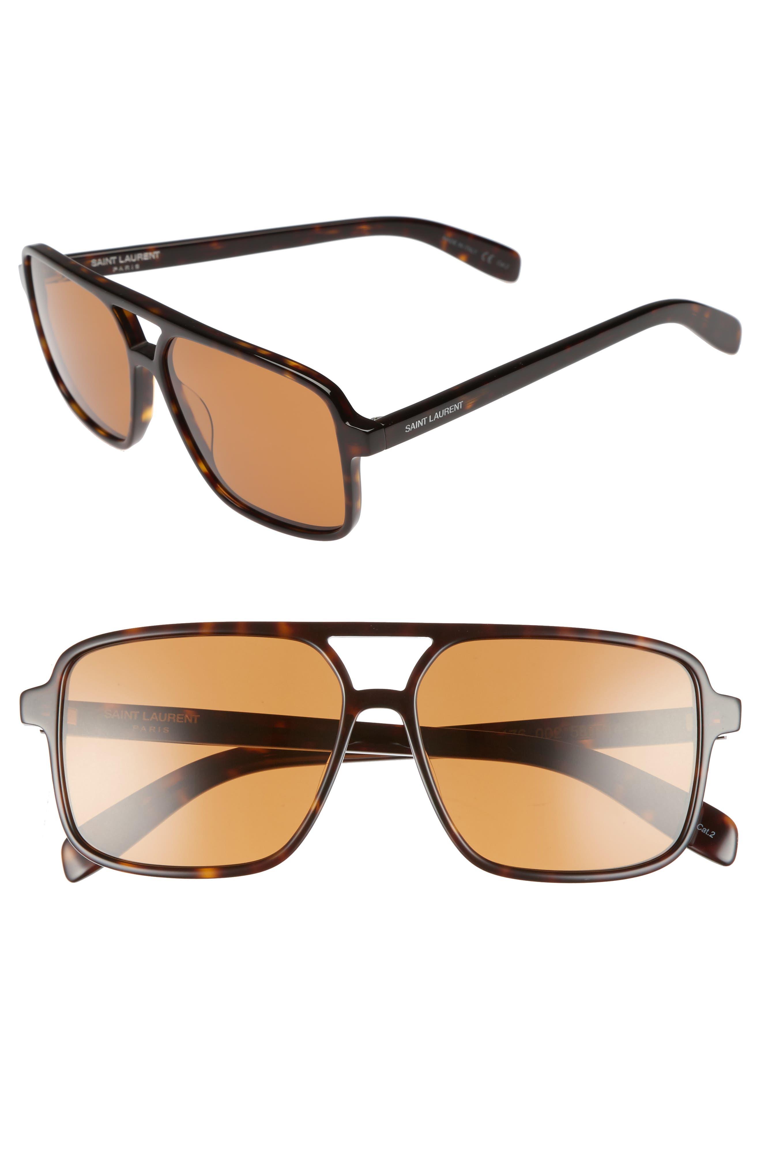 Main Image - Saint Laurent 58mm Square Navigator Sunglasses