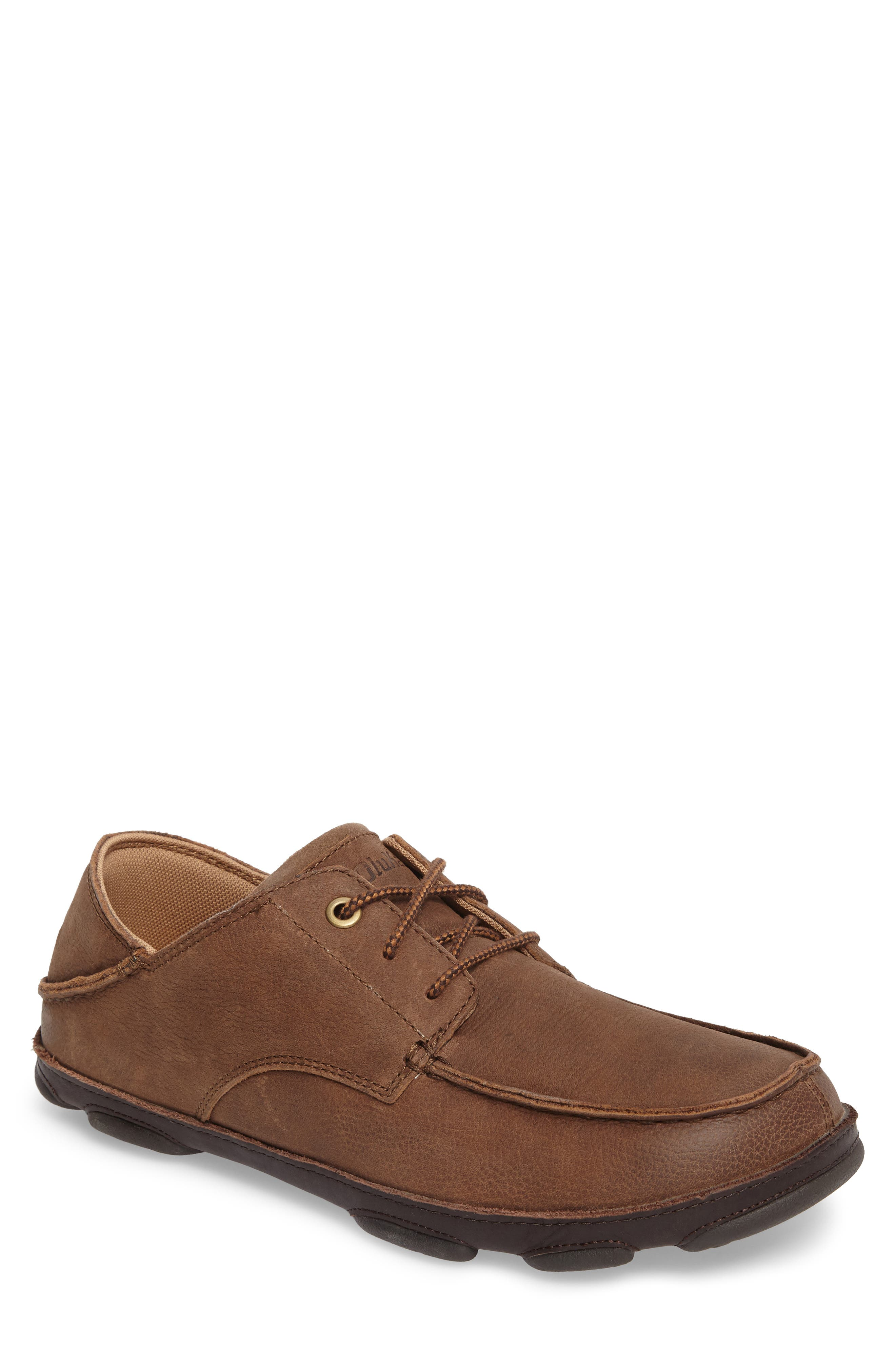 Hamakua Poko Moc Toe Derby,                         Main,                         color, Ray/ Dark Wood Leather