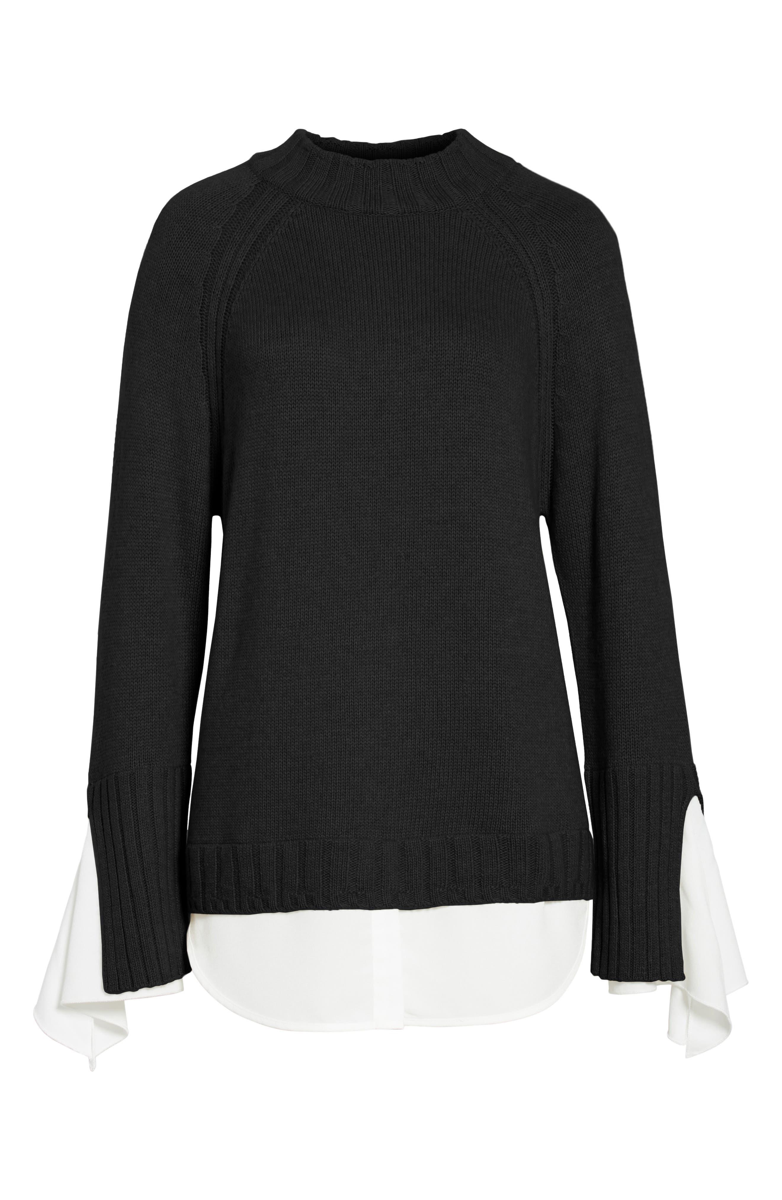 Remi Layered Pullover,                             Alternate thumbnail 6, color,                             Black/ White