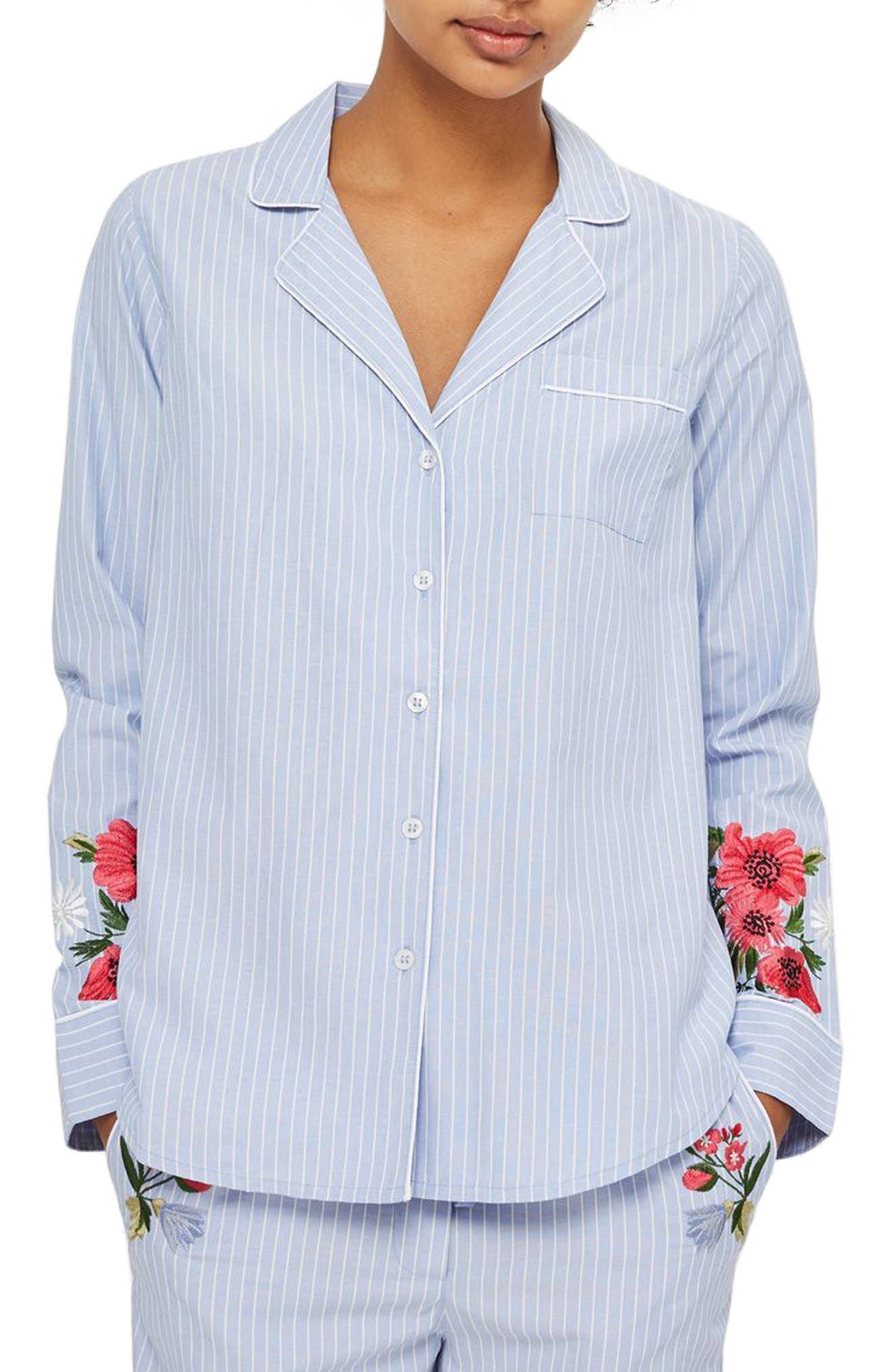 Floral Embroidered Stripe Nightshirt,                         Main,                         color, Blue Multi