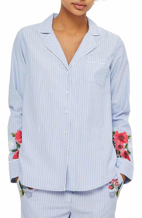 Topshop Floral Embroidered Stripe Nightshirt Cheap