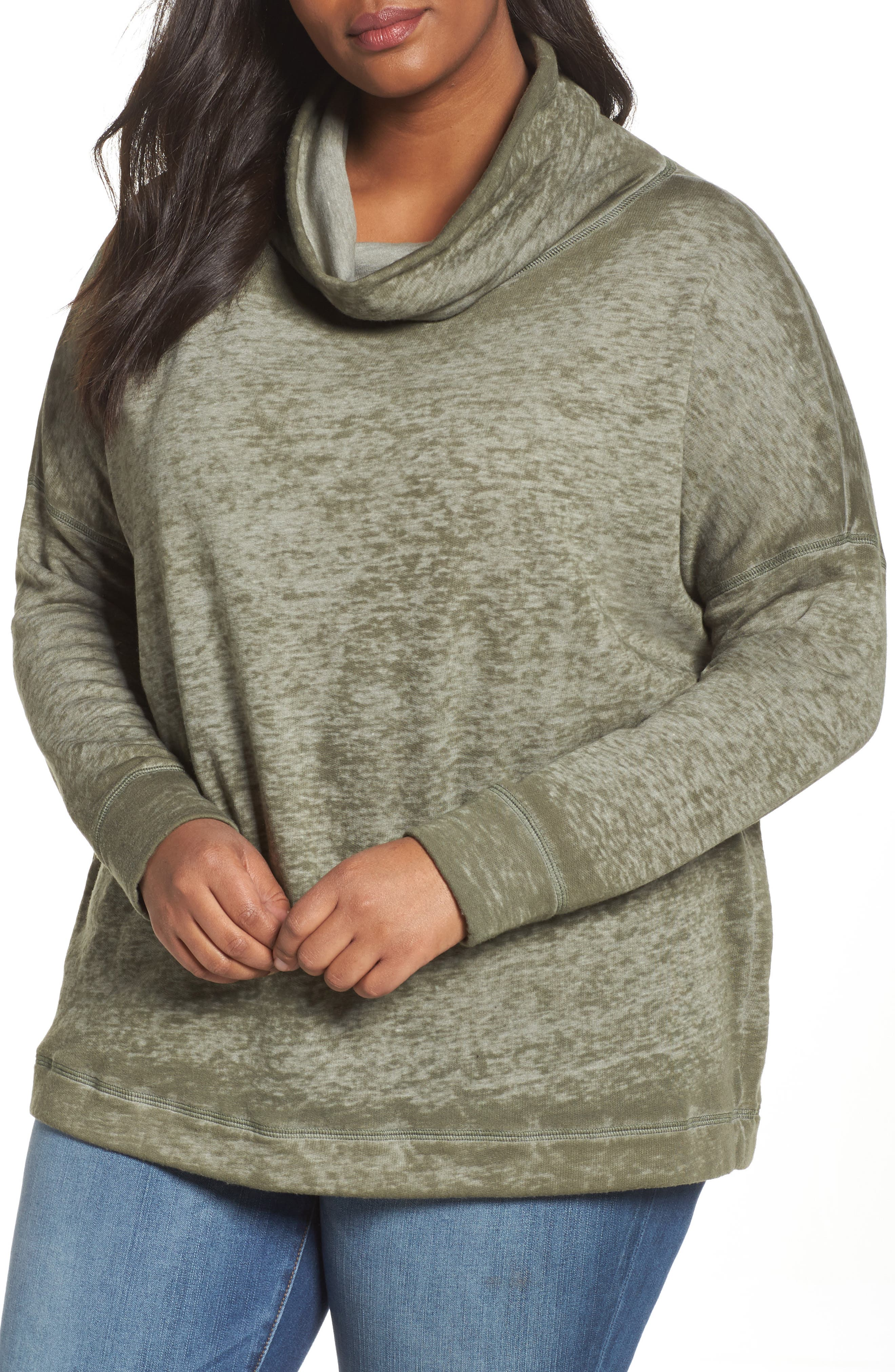 Caslon® Pleat Back Sweatshirt (Plus Size)