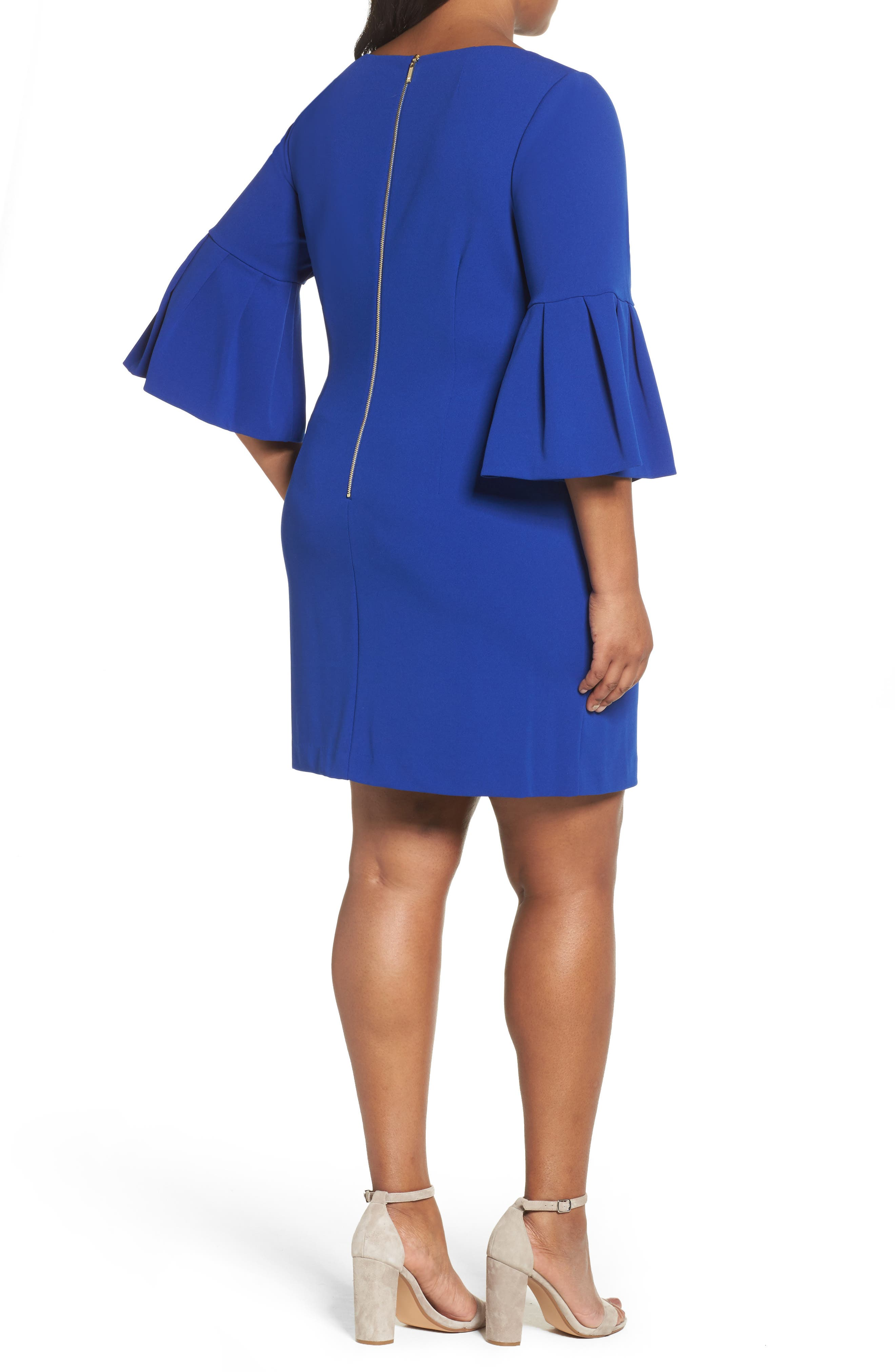 Bell Sleeve Shift Dress,                             Alternate thumbnail 2, color,                             Royal