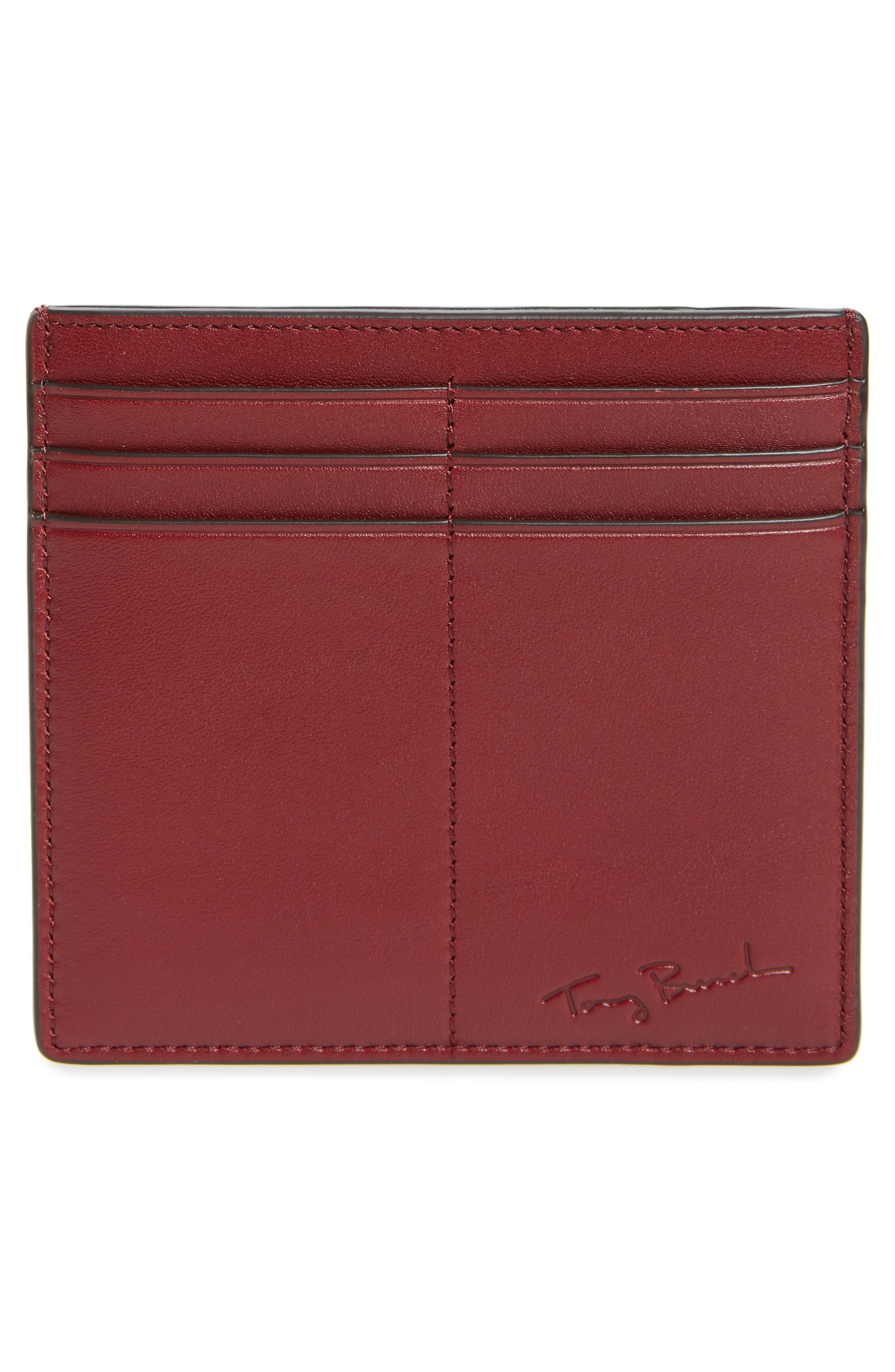 Martini Appliqué Leather Card Case,                             Alternate thumbnail 2, color,                             Imperial Garnet