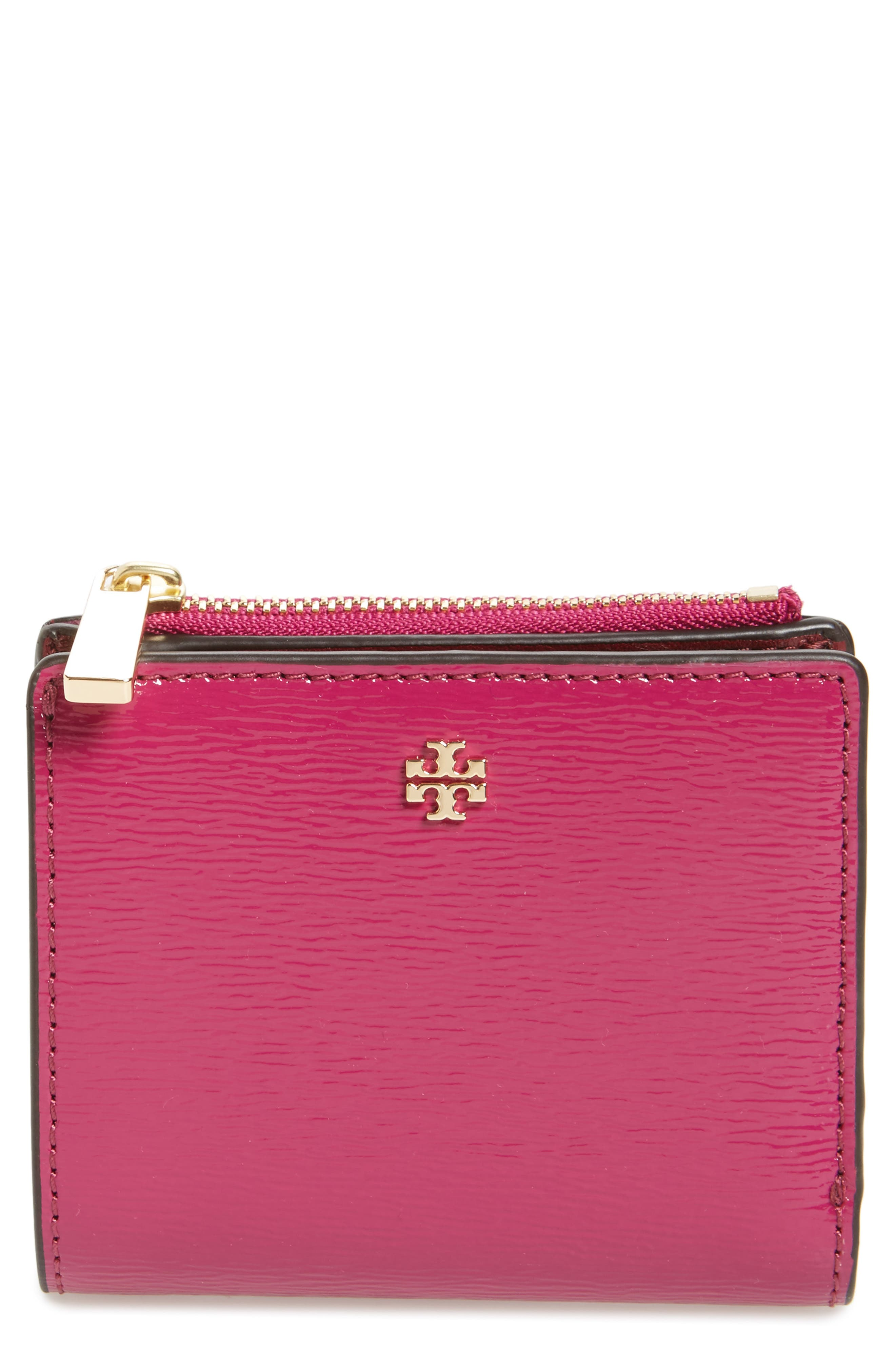 Mini Robinson Wallet Patent Leather Bifold Wallet,                             Main thumbnail 1, color,                             Party Fuchsia