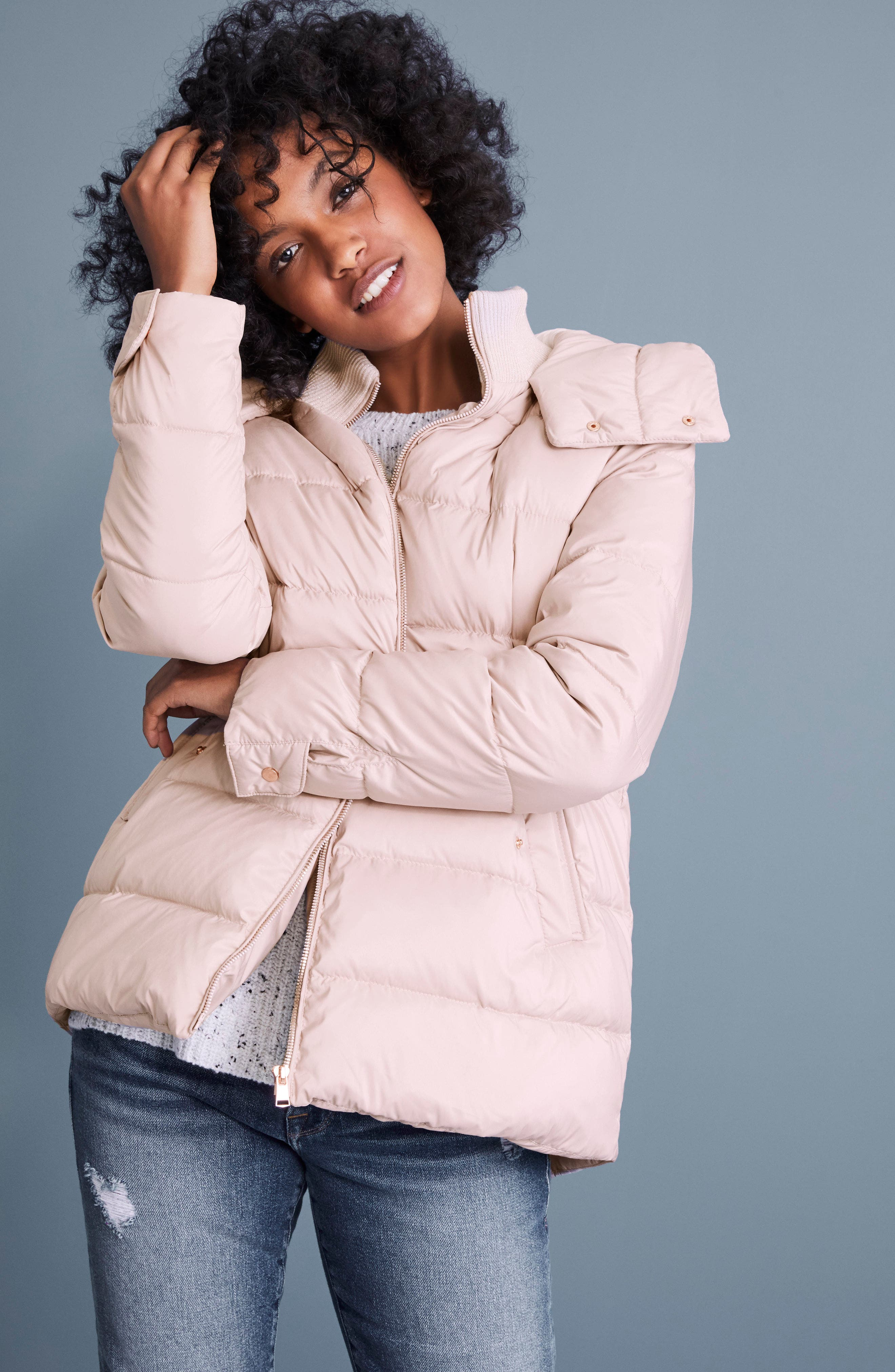 Hooded Puffer Jacket,                             Alternate thumbnail 2, color,                             Petal Pink
