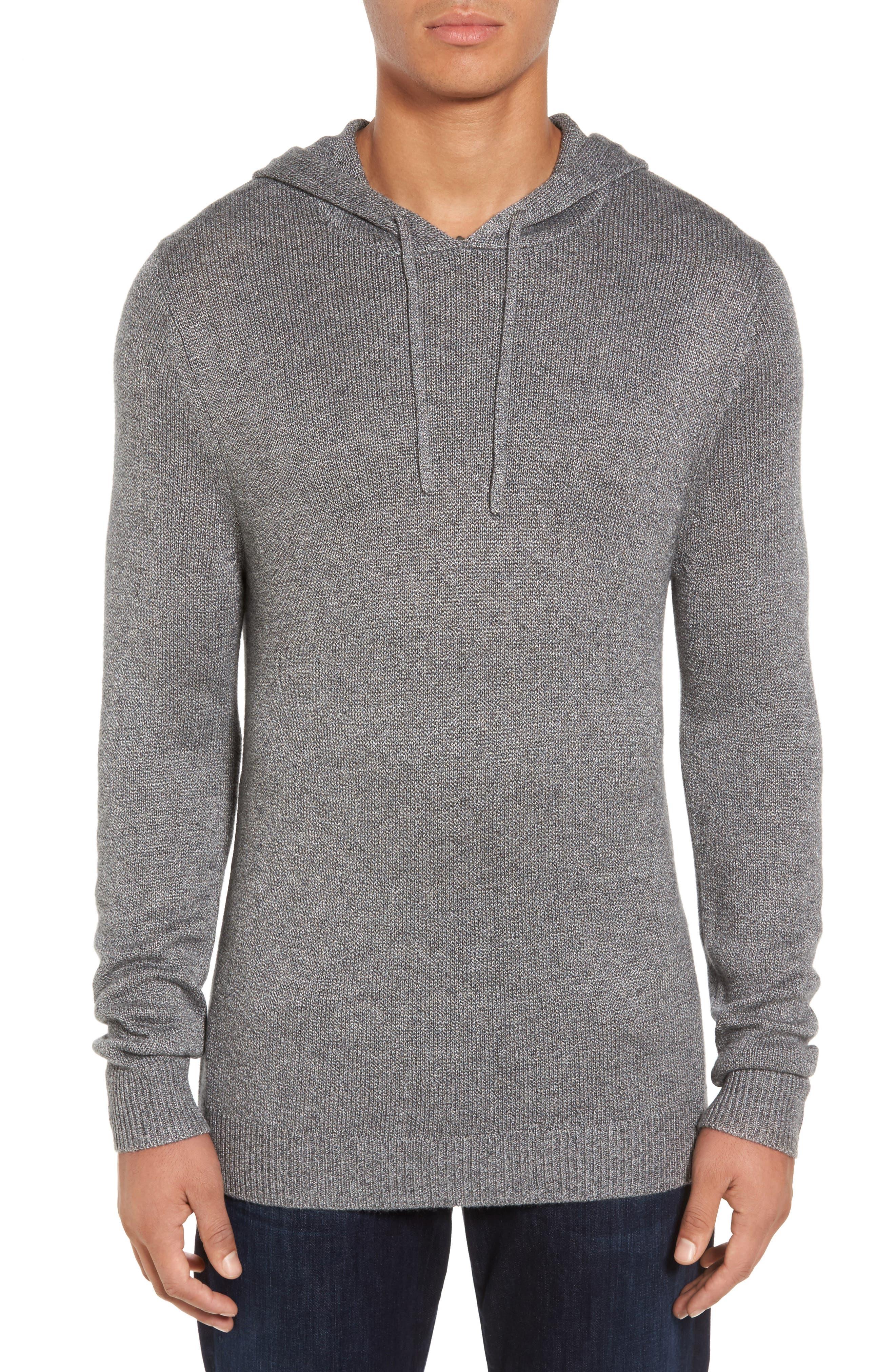 Knit Hoodie,                         Main,                         color, Grey Magnet Melange