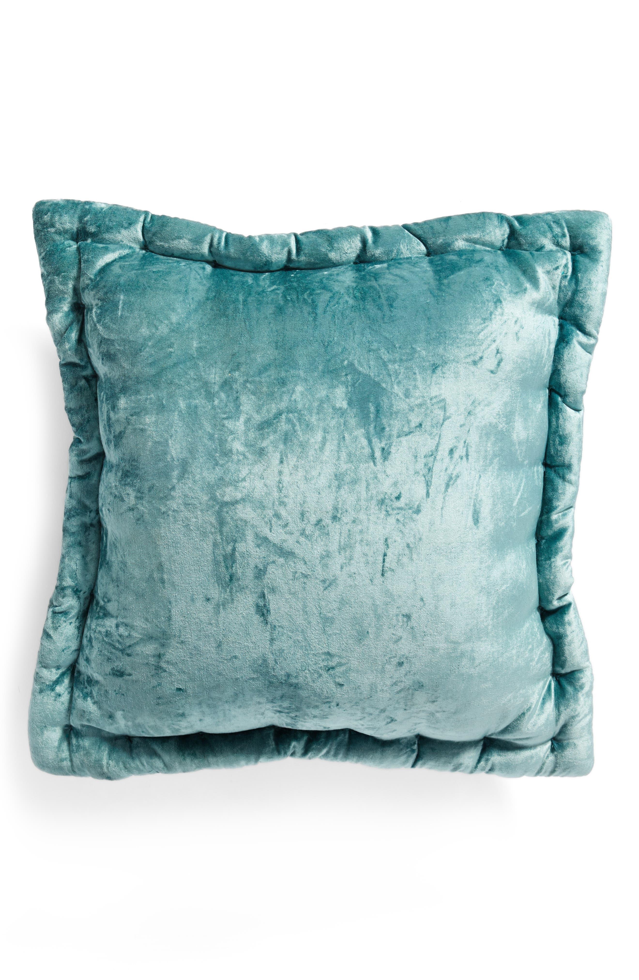 Velvet Accent Pillow,                             Main thumbnail 1, color,                             Teal Titanic