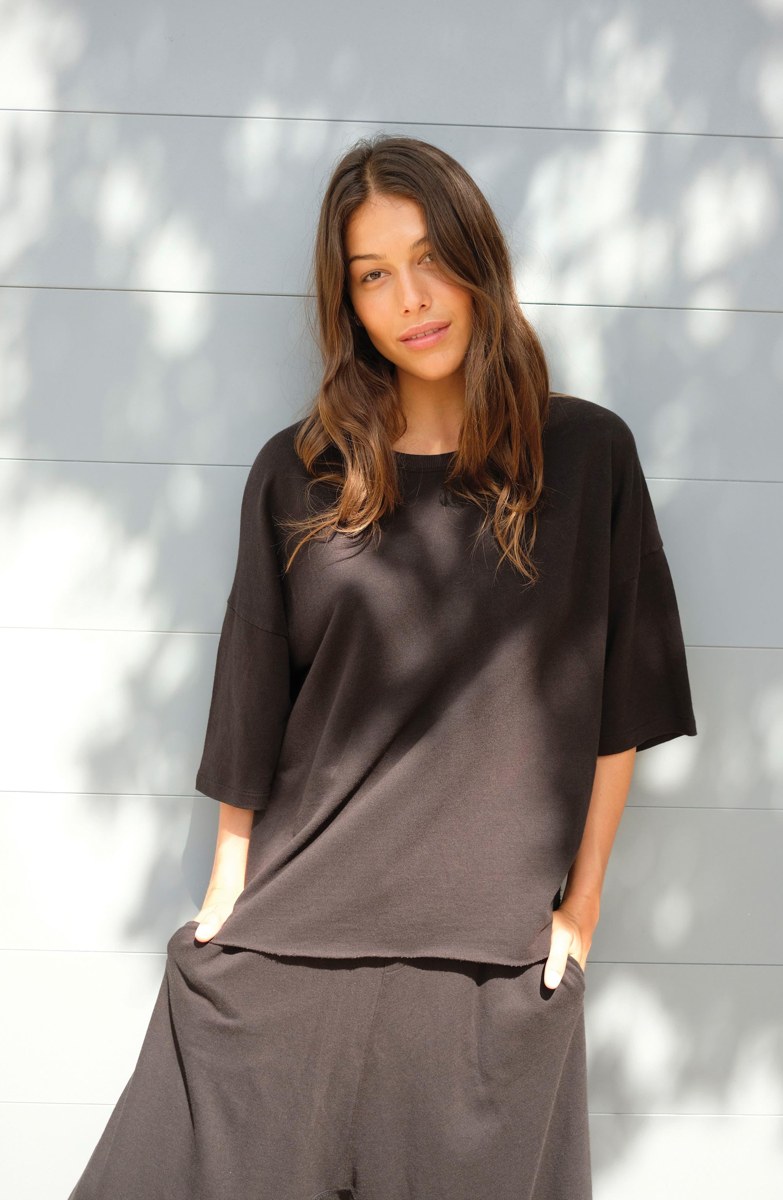 Soph Lounge Sweater,                             Alternate thumbnail 9, color,                             Plain Black Marle