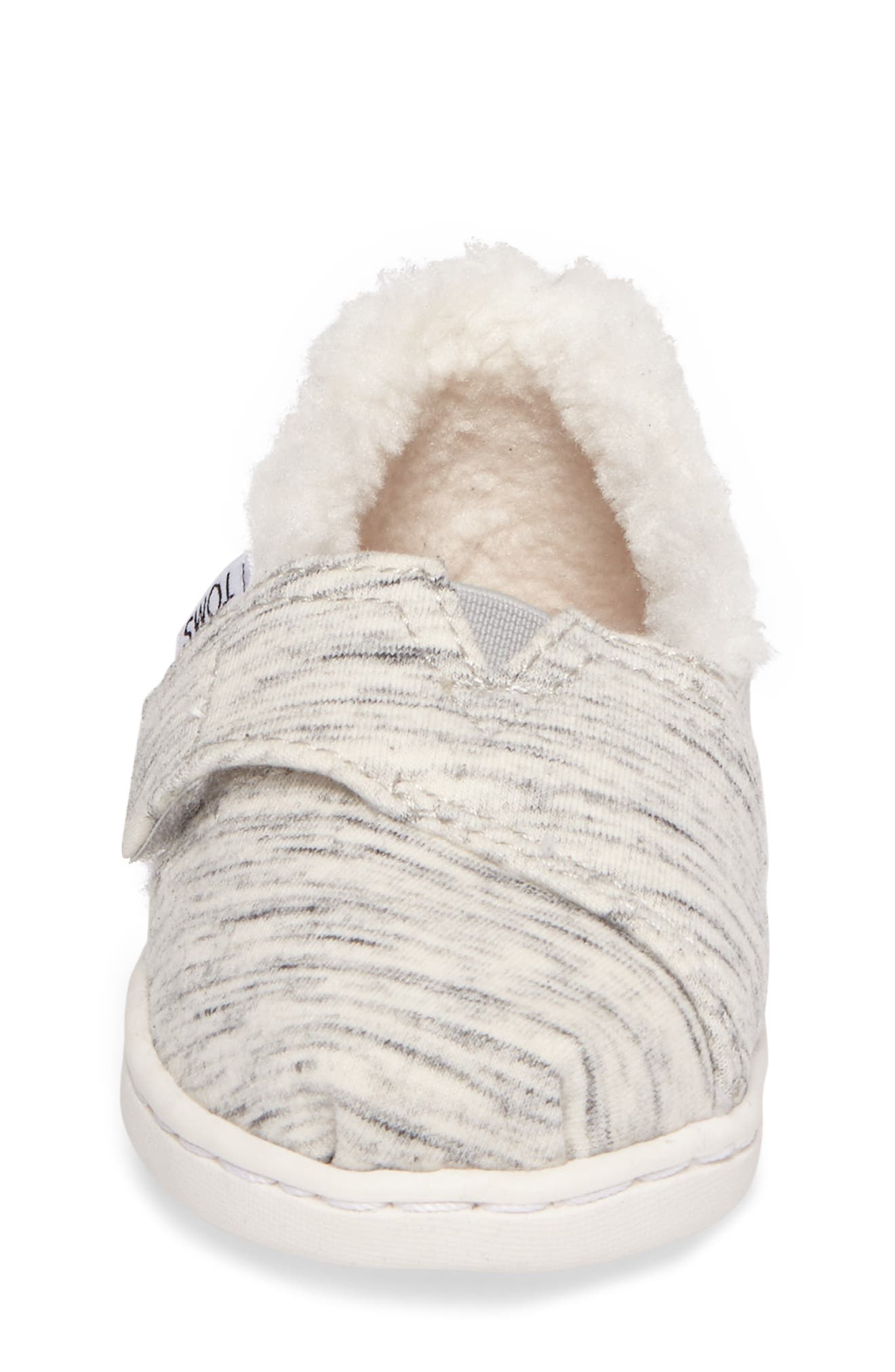 Alternate Image 4  - TOMS Classic - Tiny Herringbone Faux Shearling Lined Slip-On (Baby, Walker & Toddler)