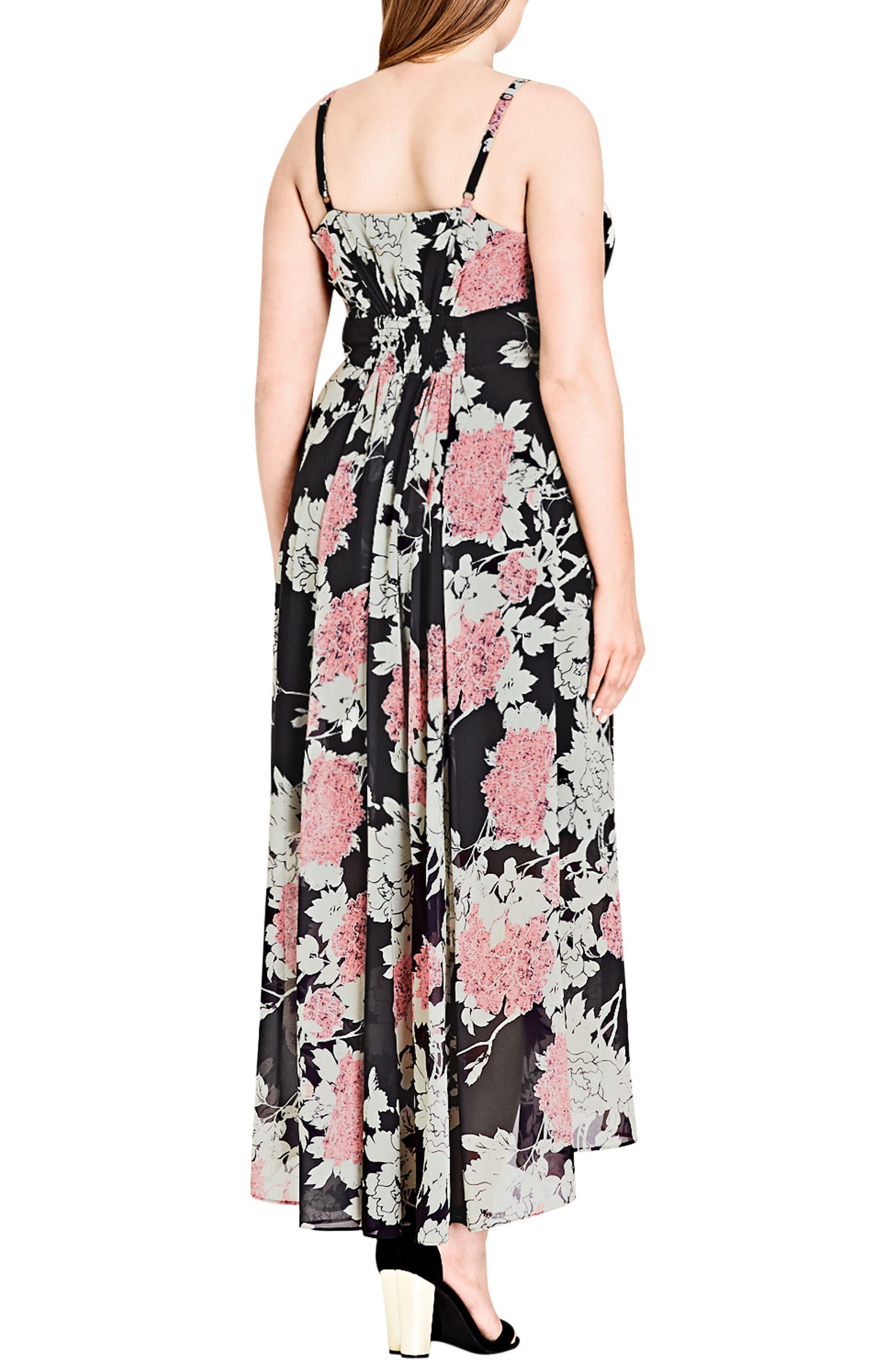 Alternate Image 2  - City Chic Bonsai Floral Maxi Dress (Plus Size)
