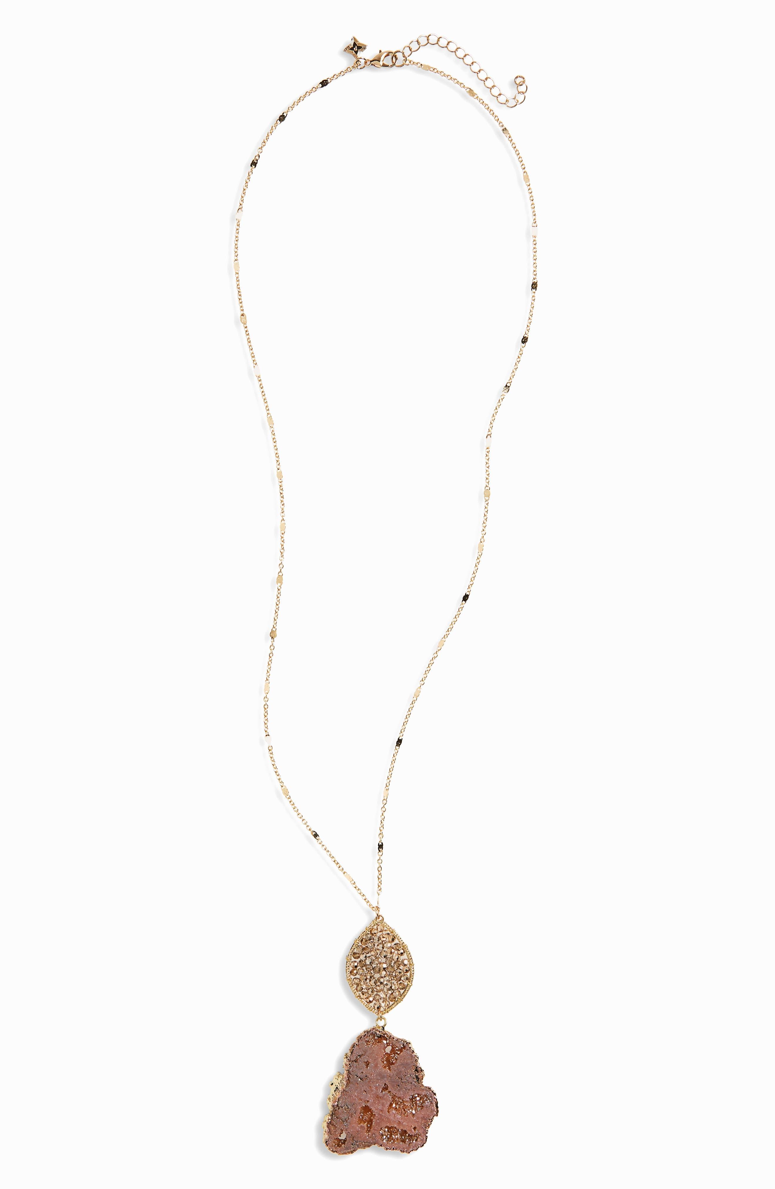 Agate Beaded Pendant Necklace,                         Main,                         color, Peach