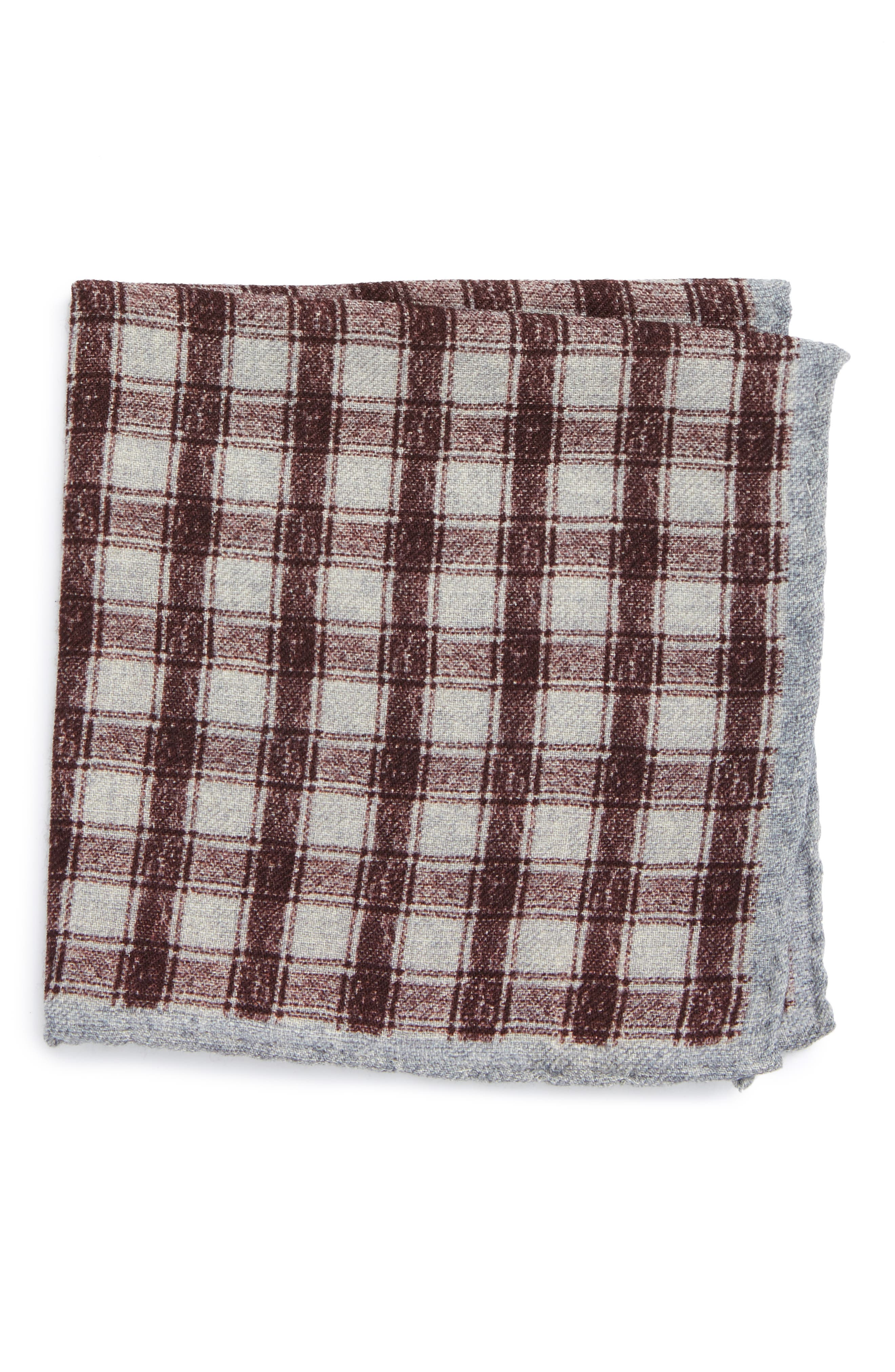 Check Wool Pocket Square,                         Main,                         color, Red