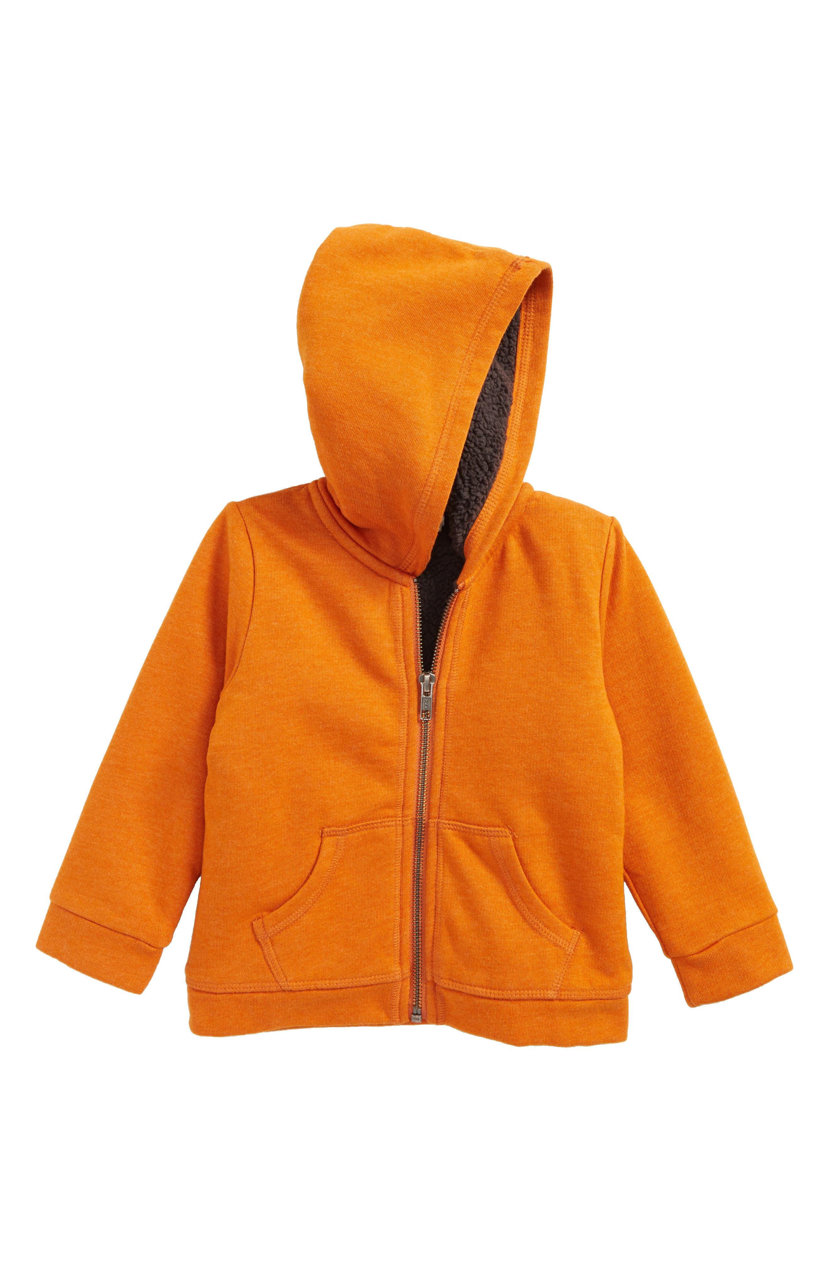 Fleece Lined Hoodie,                             Main thumbnail 1, color,                             Orange Hawaii