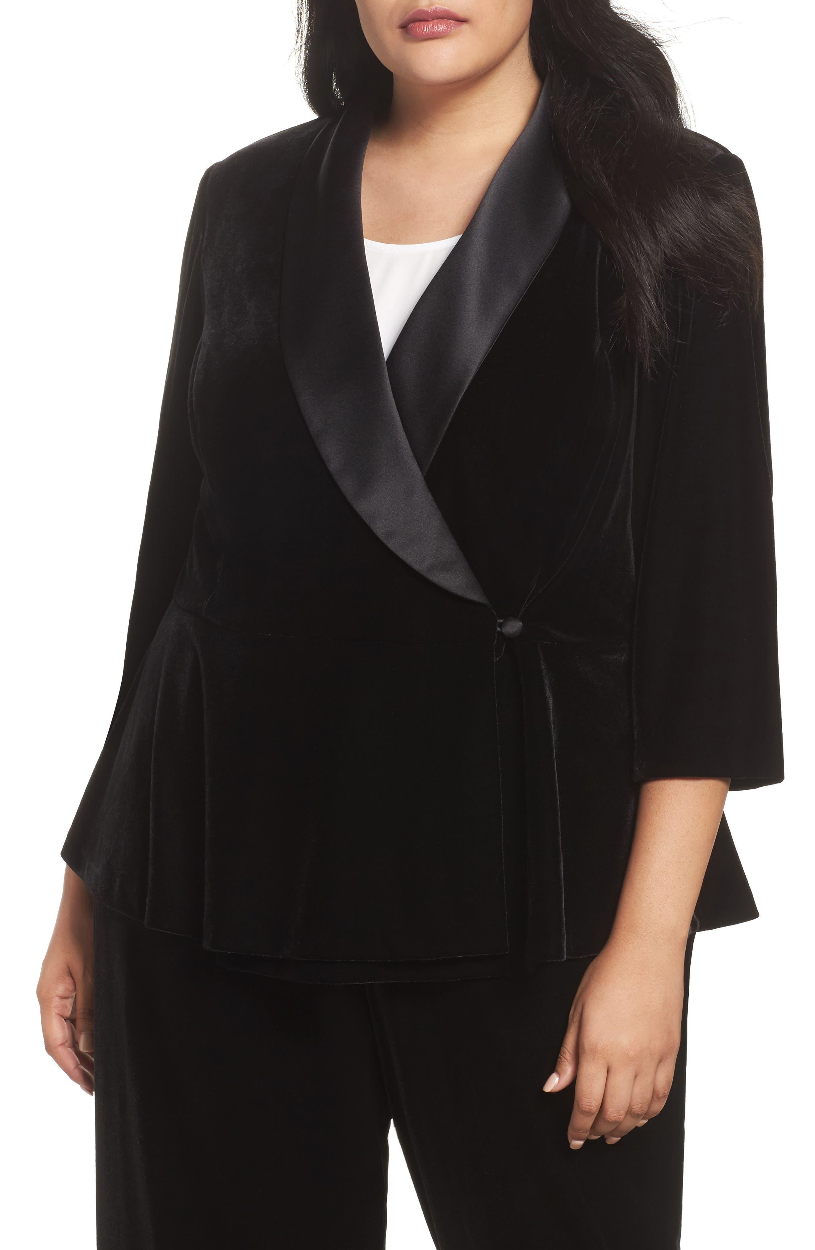 Stretch Velvet Blouse,                         Main,                         color, Black